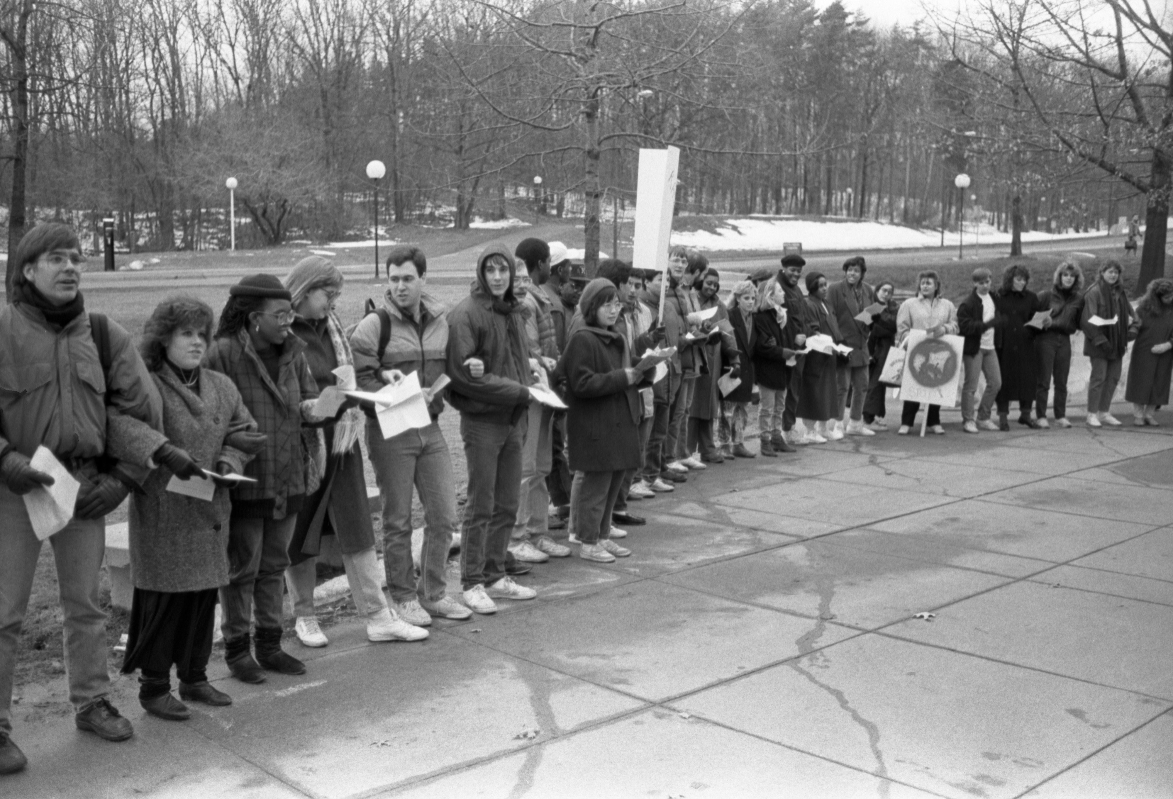 Participants Of U-M Anti-Racism Demonstration At The North Campus Commons, February 13, 1987 image