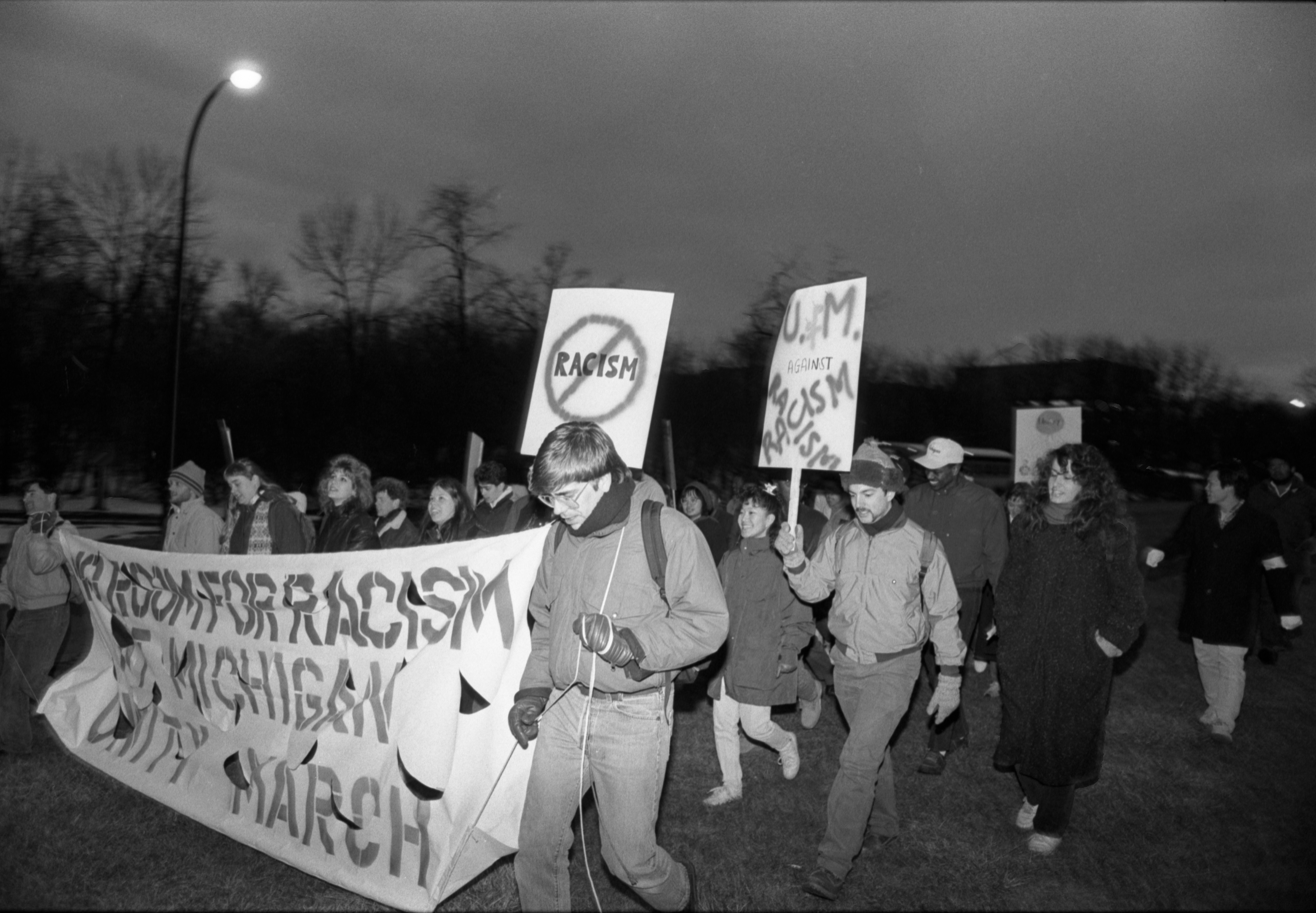 Participants Of U-M Anti-Racism Demonstration March To Alice Lloyd Hall, February 13, 1987 image