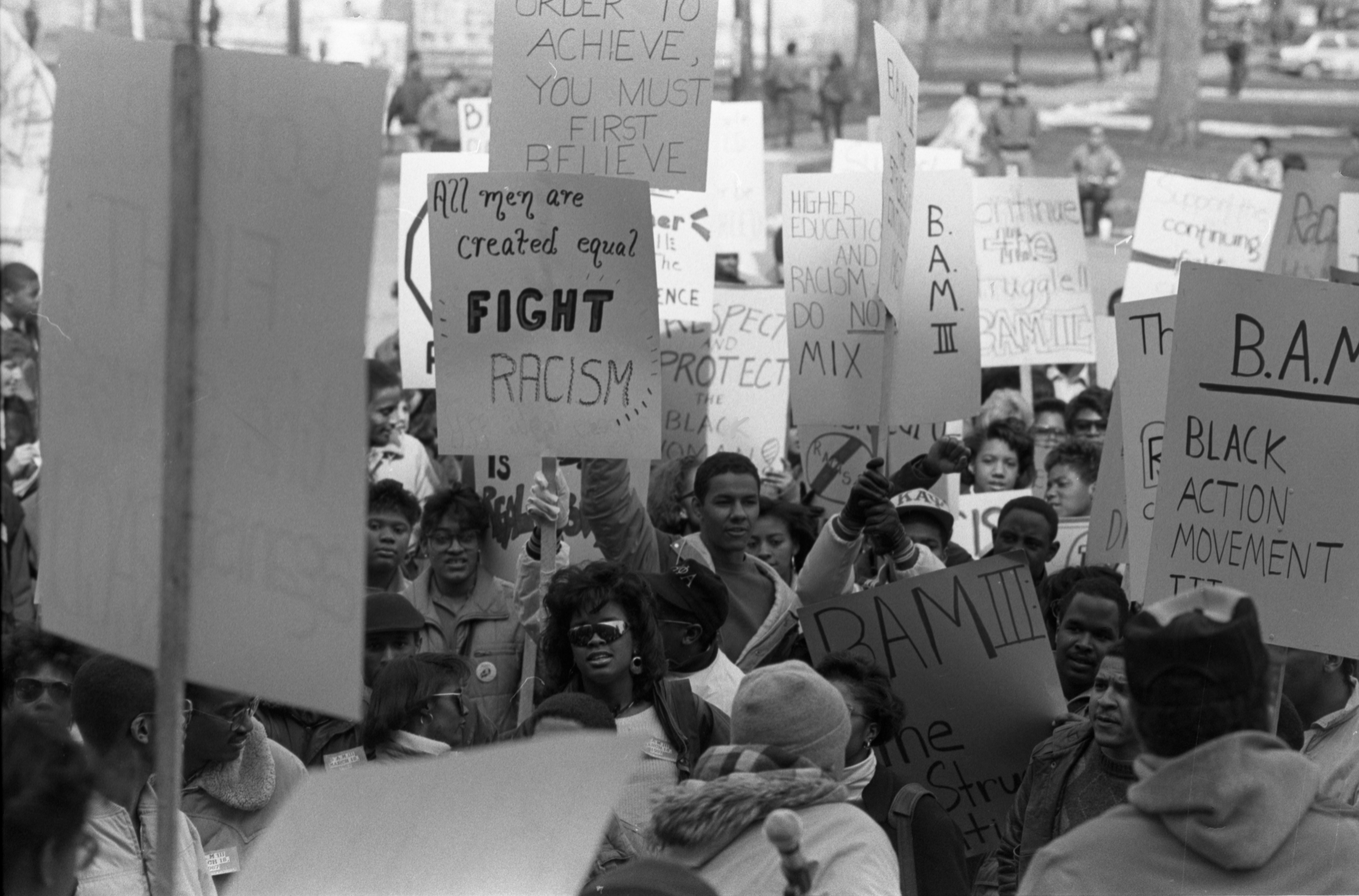 Image from Black Action Movement III Rally , March 19, 1987