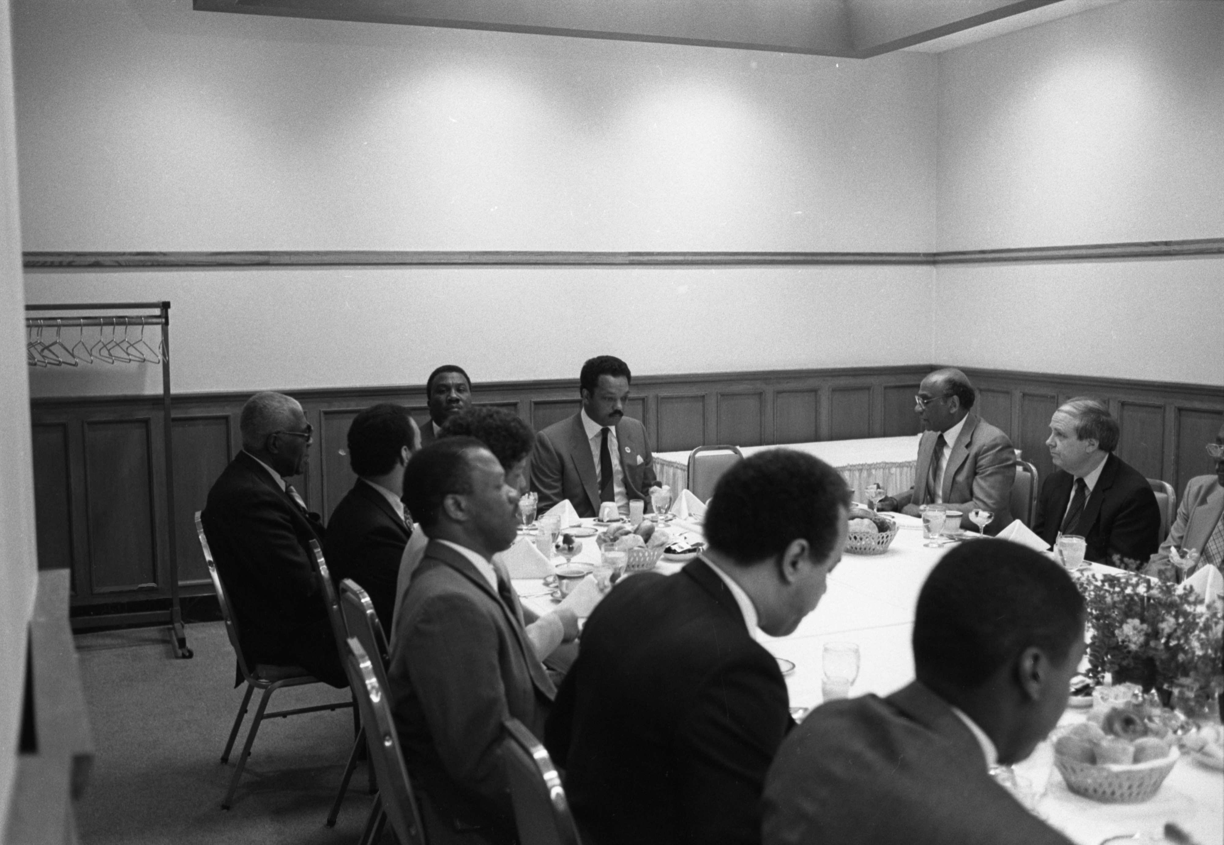 Rev. Jesse Jackson Meets With Local Ministers For Breakfast At The Michigan Union, March 23, 1987 image
