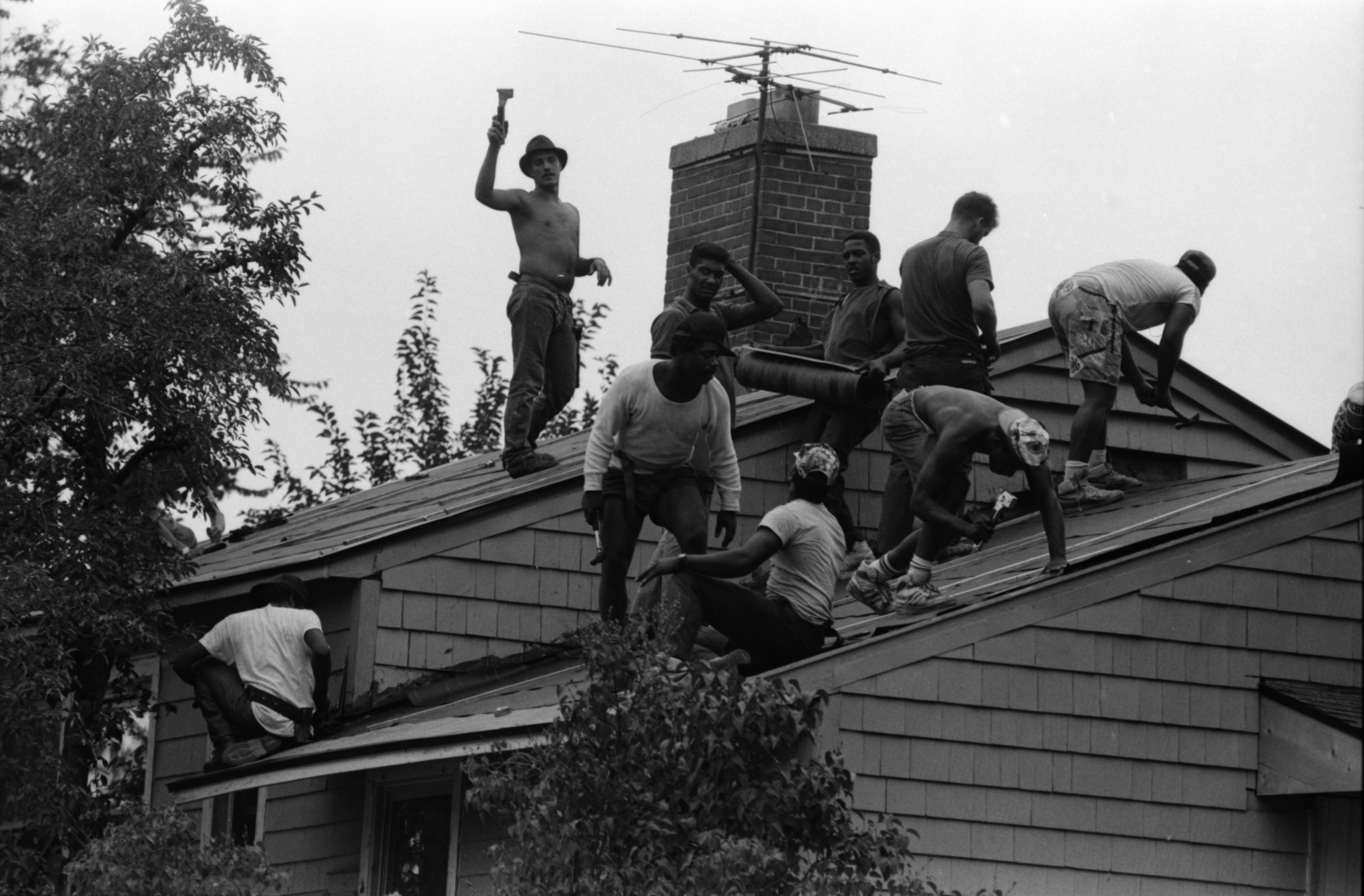 Roofers Work on Pittsfield Village, August 1987 image