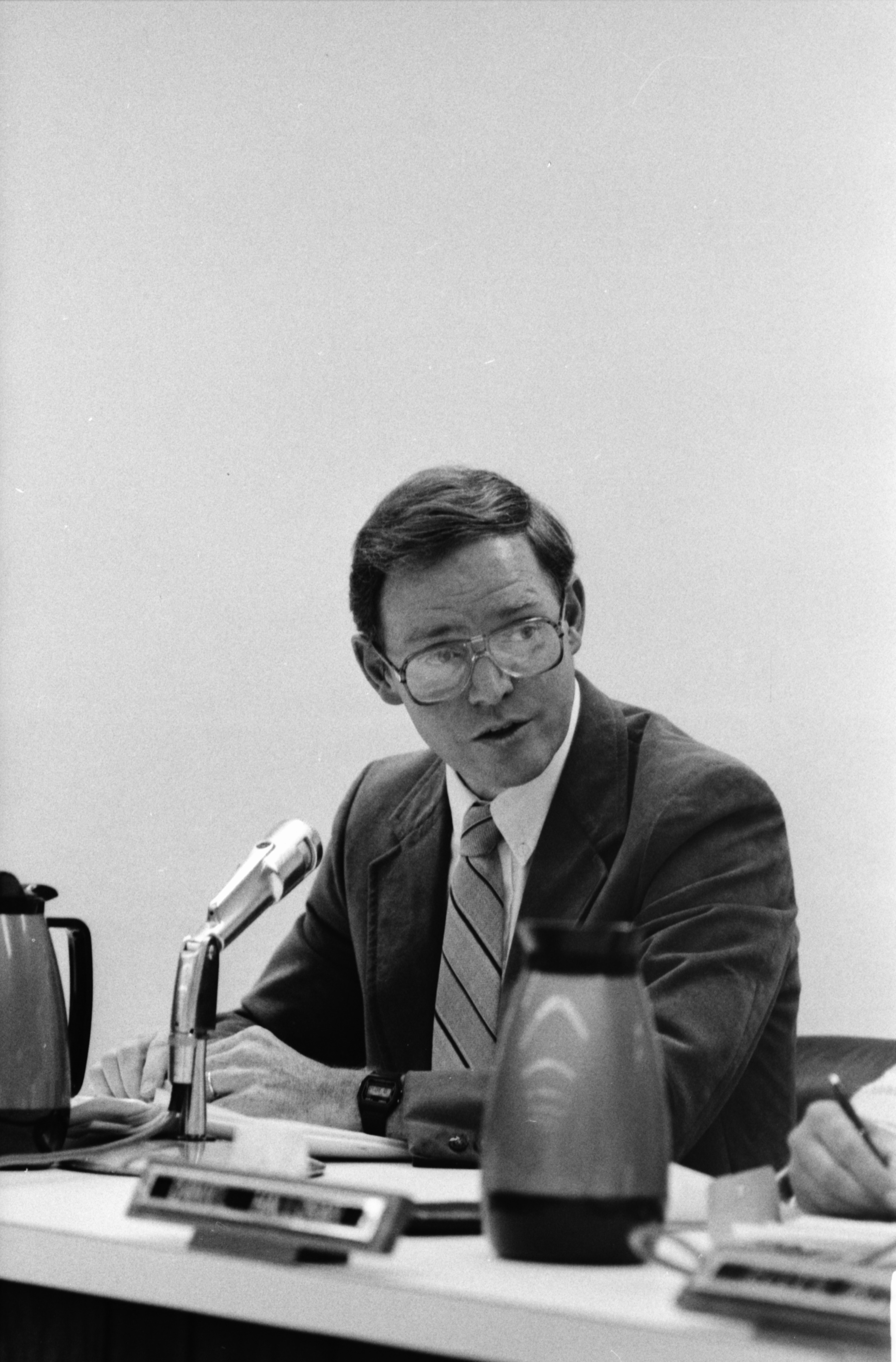 Ann Arbor Public Schools Superintendent Richard Benjamin at Meeting on Huron High School Bus Crash, August 1987 image