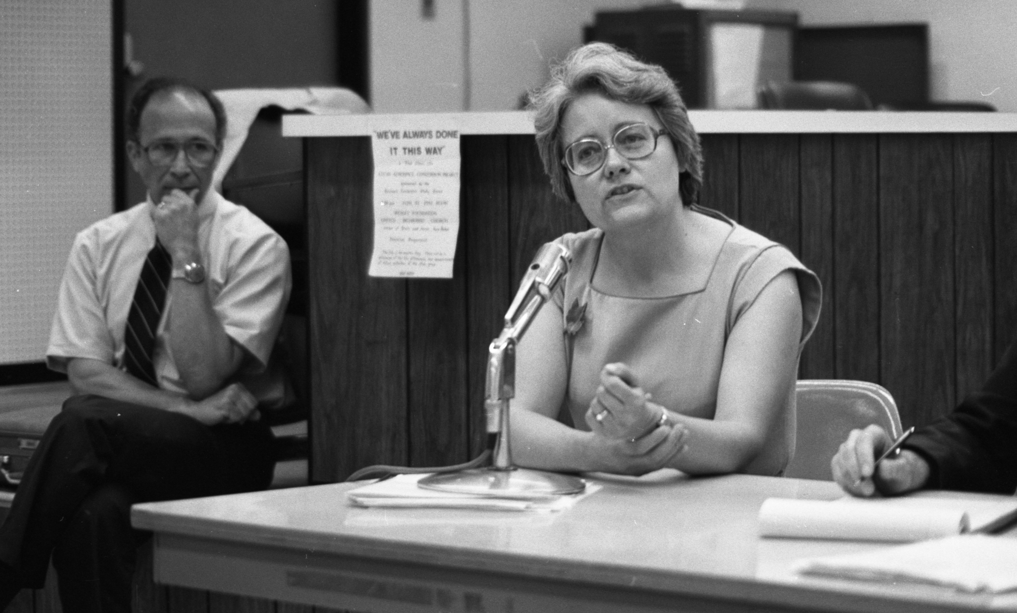 Karen A. Dolby Discusses Proposed Civil Defense Plan at Ann Arbor Public Library, June 1982 image