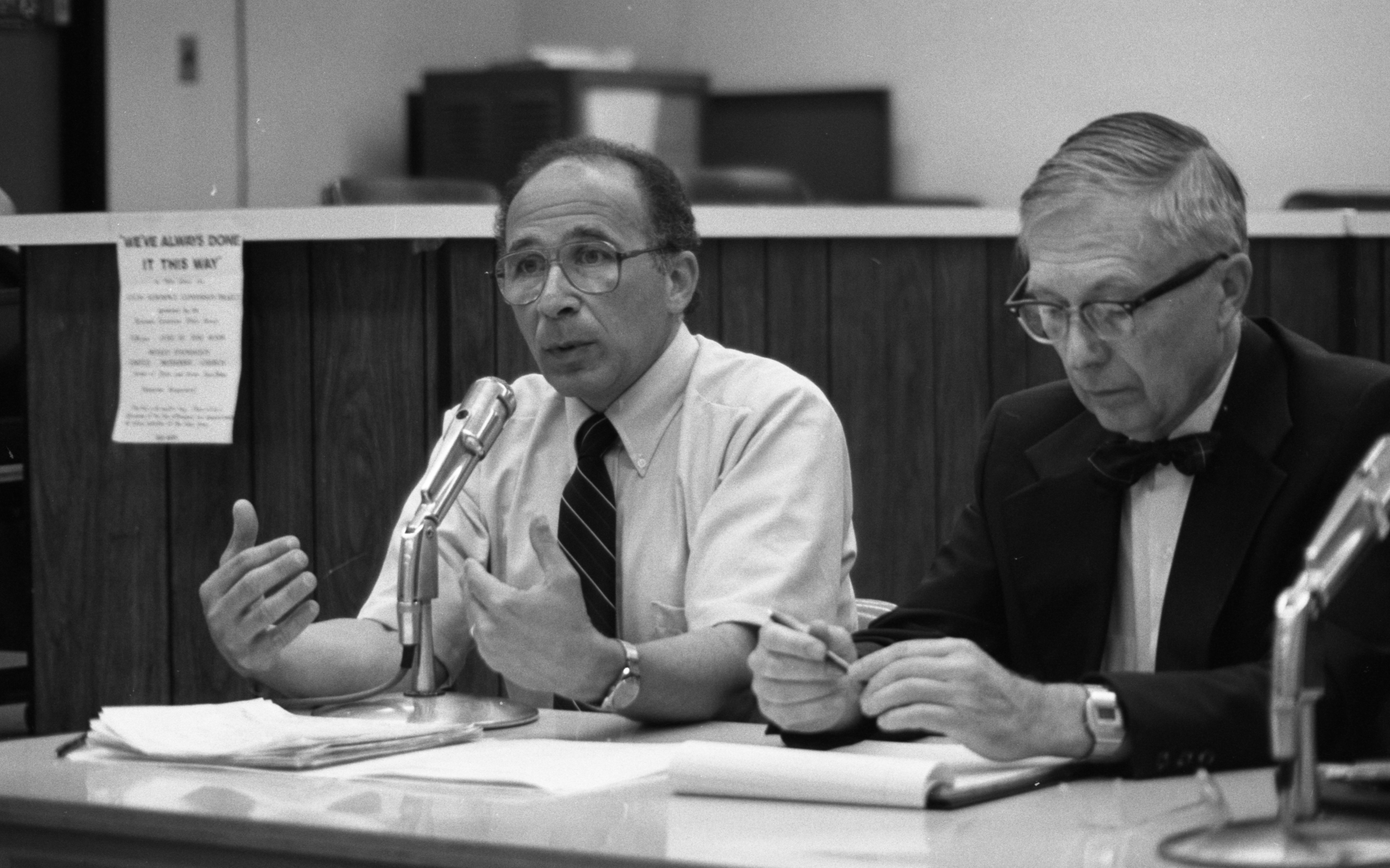 Dr. Arthur J. Vander Discusses Proposed Civil Defense Plan at Ann Arbor Public Library, June 1982 image