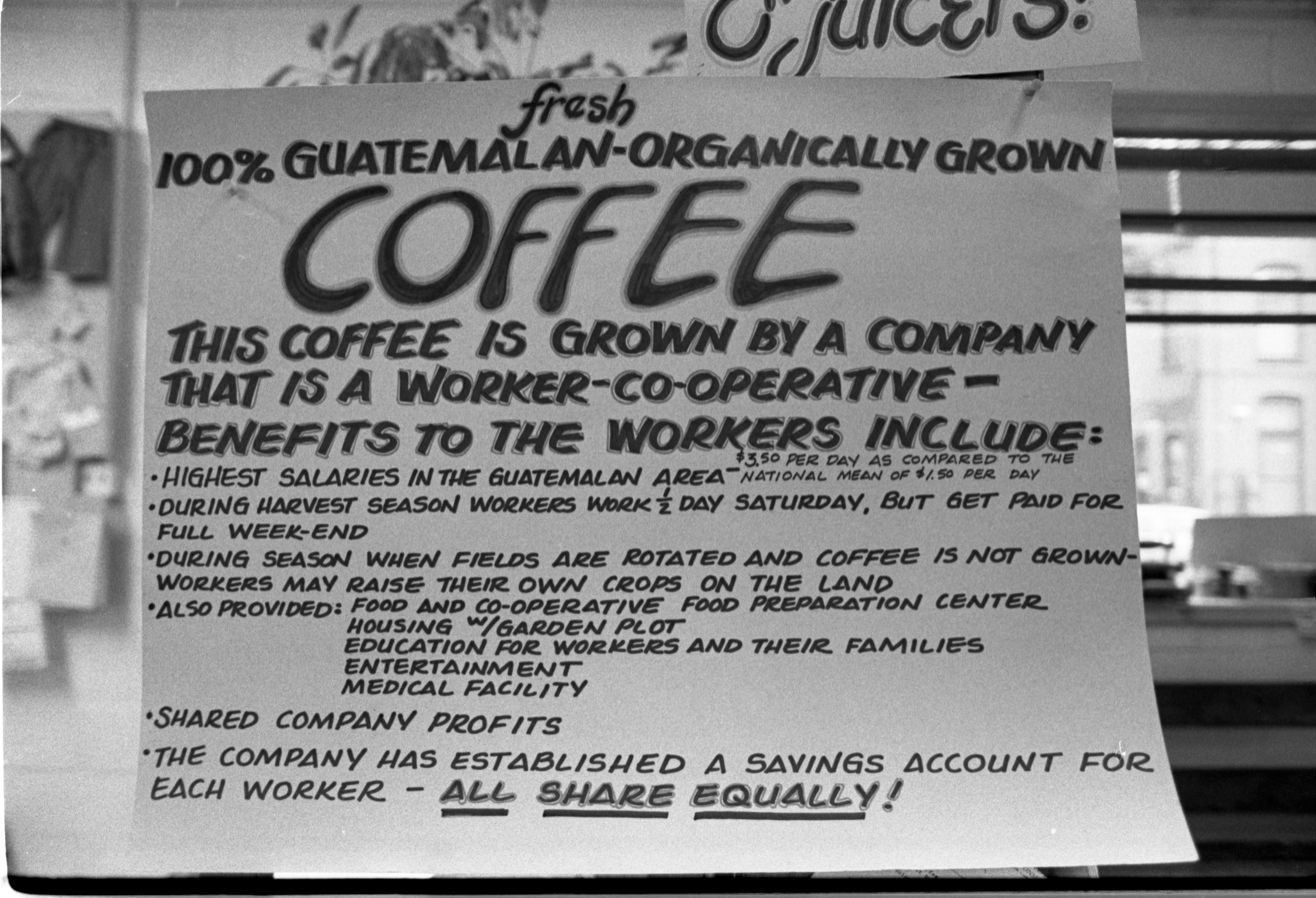 Coffee Sign At The People's Food Co-Op, October 14, 1982 image