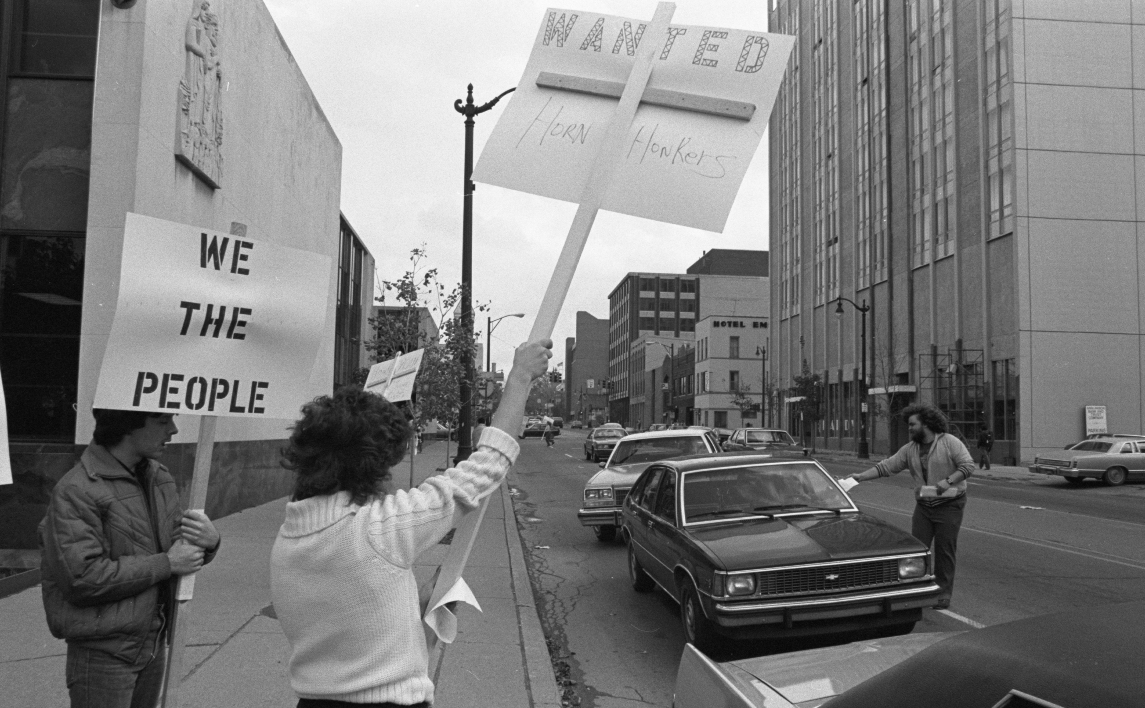 Picketers Protest Closing Of Danish News Adult Bookstore, October 1982 image