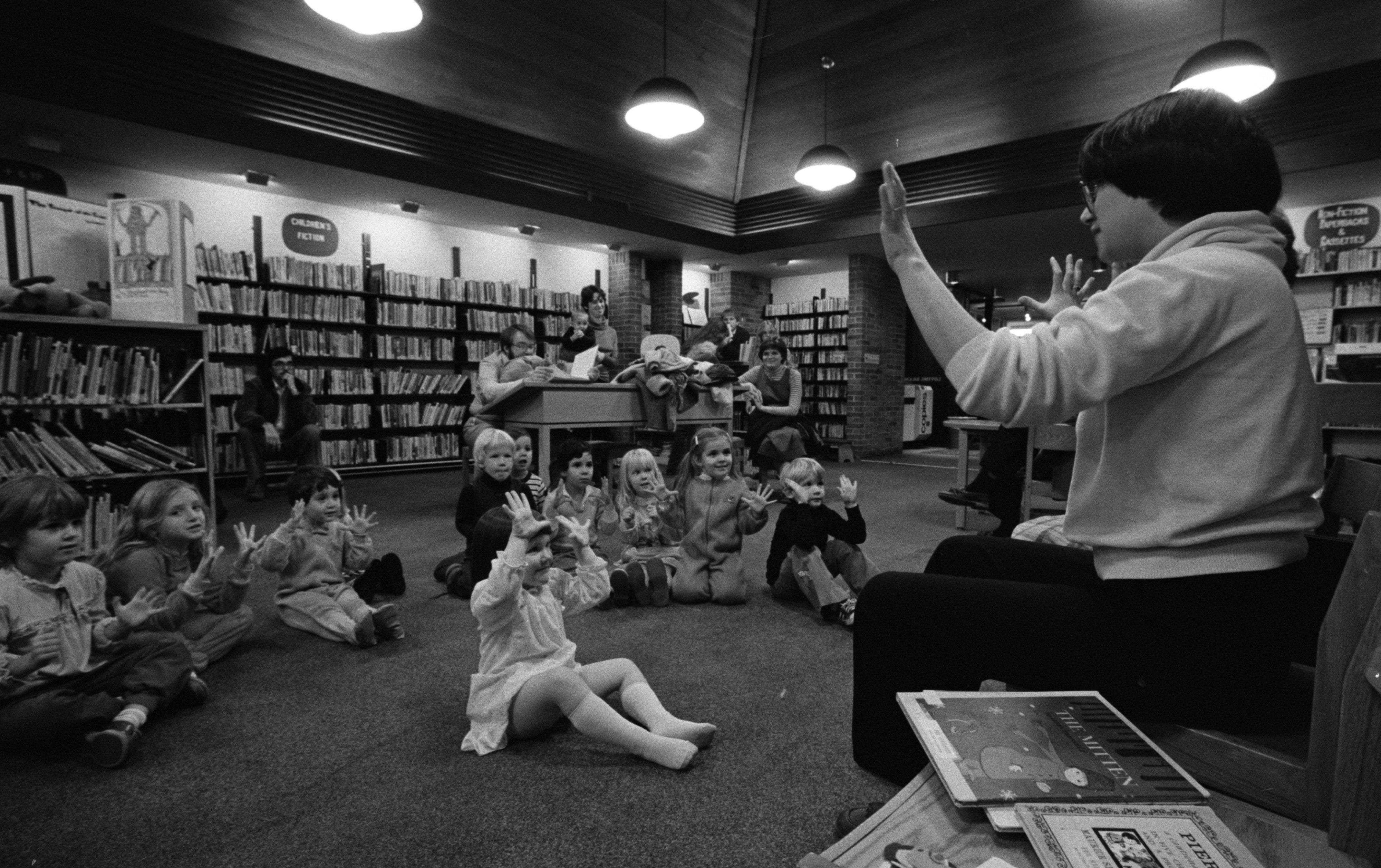 Counting Fingers at Story Time at the Loving Branch Library, December 1982 image