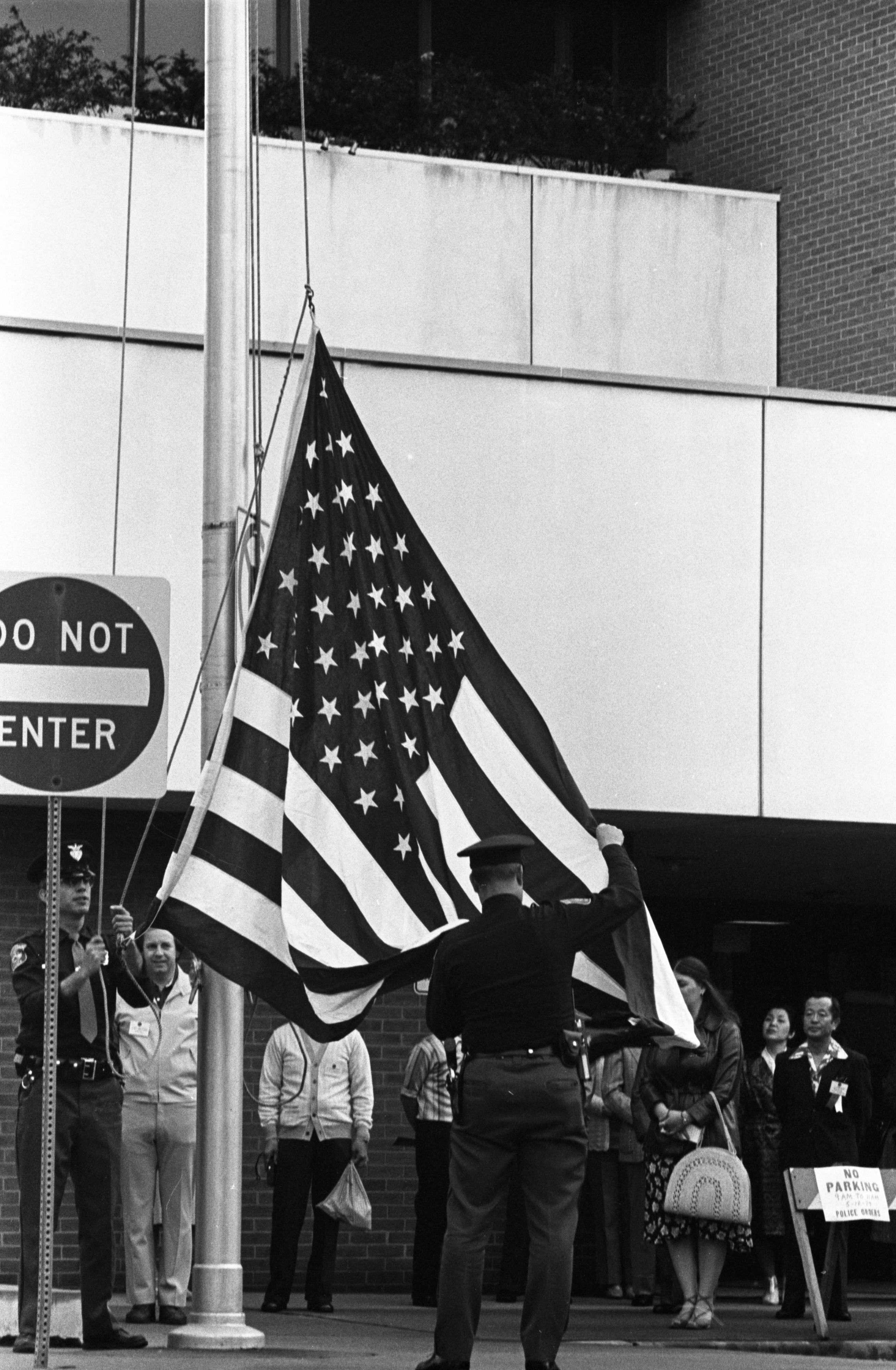Ann Arbor Police Get Ready To Raise American Flag During Ceremony At City Hall, May 1979 image