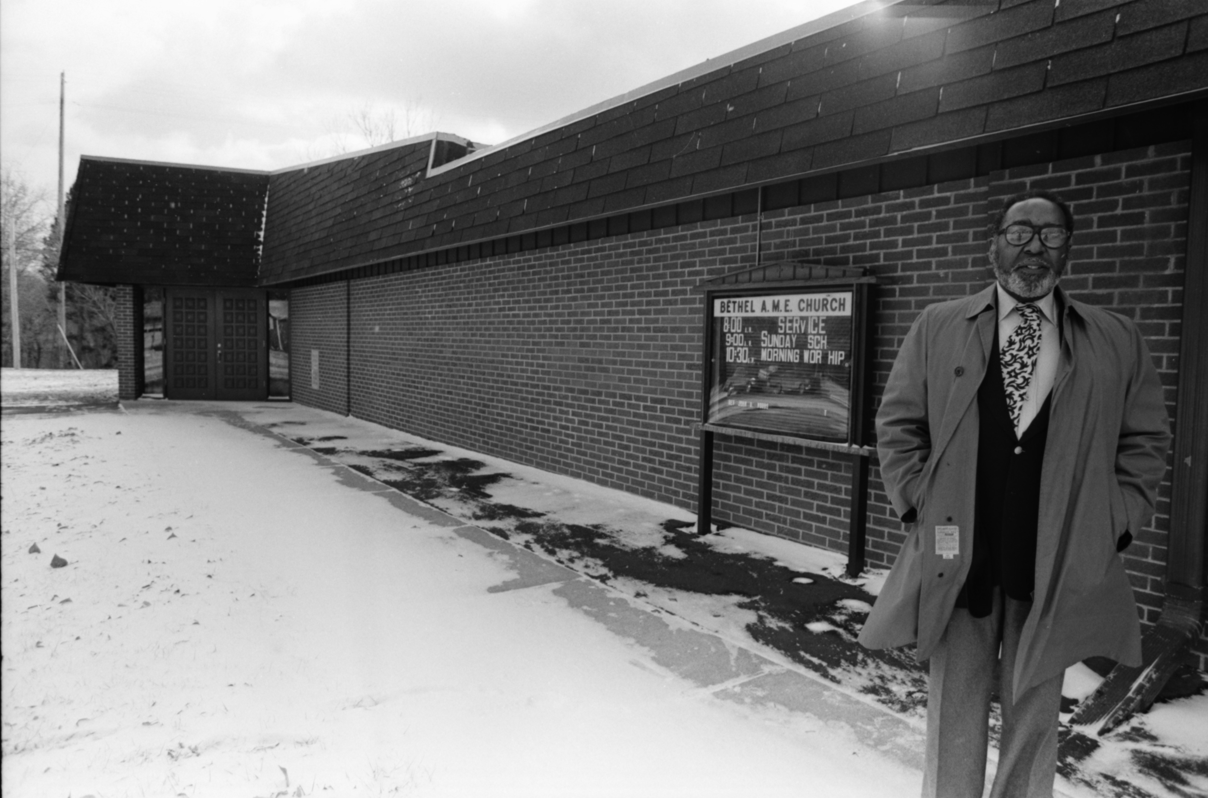 Richard D. Blake in front of Bethel A.M.E. Church, December 1979 image