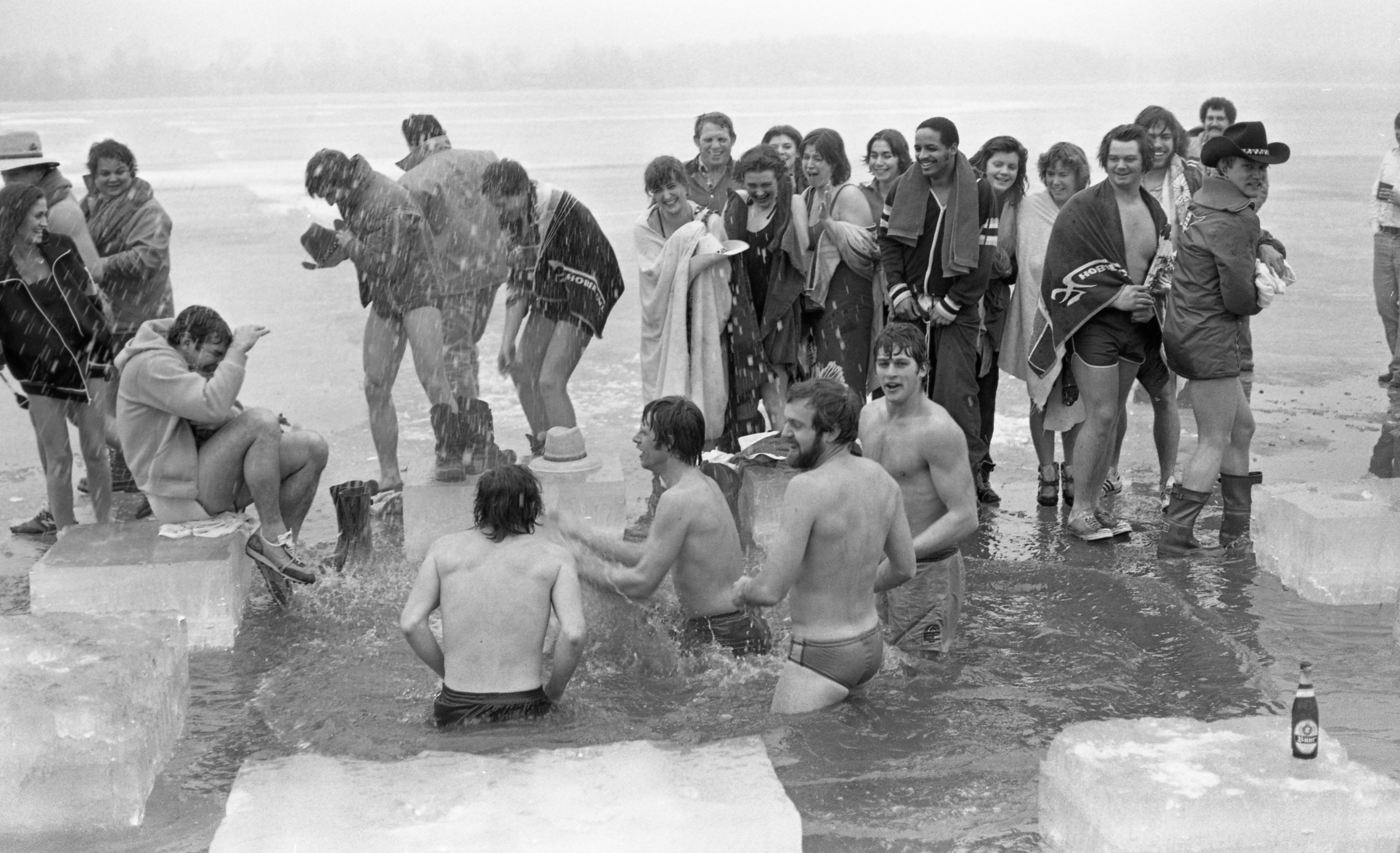 Members Of The Polar Bear Club Take Their Annual Plunge In Whitmore Lake, February 1980 image