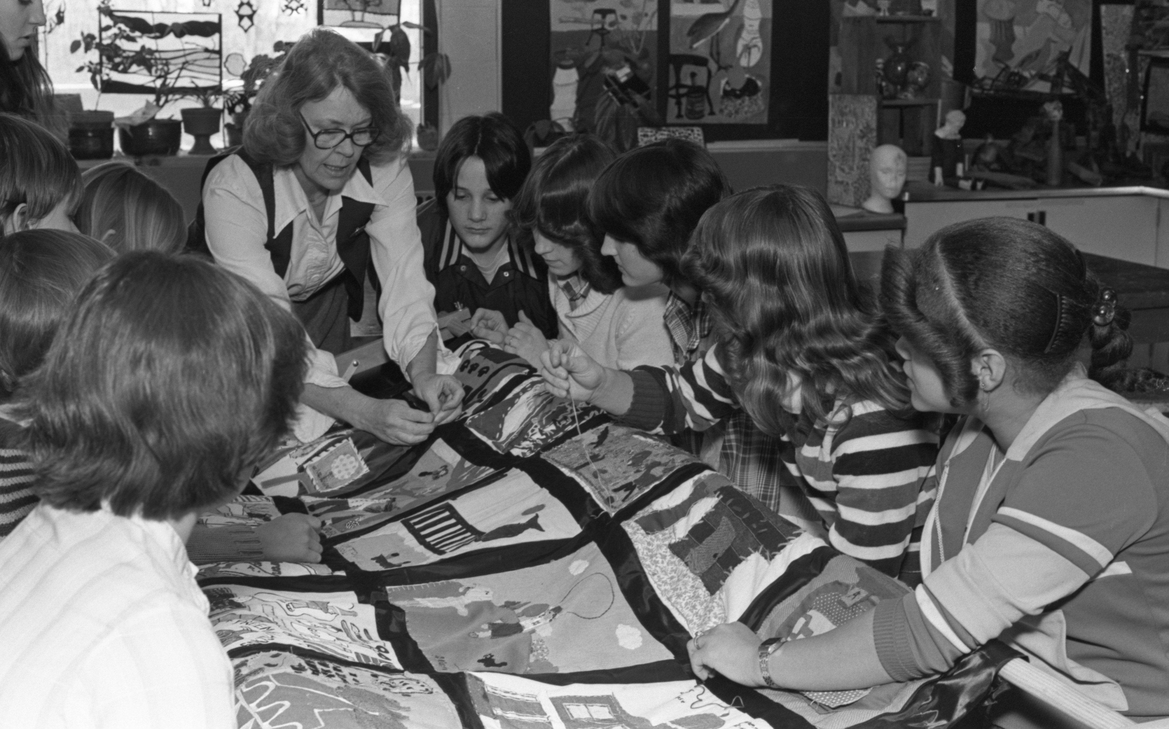 Clague School Students Work On An Ann Arbor Quilt With Their Art Teacher, February 1980 image