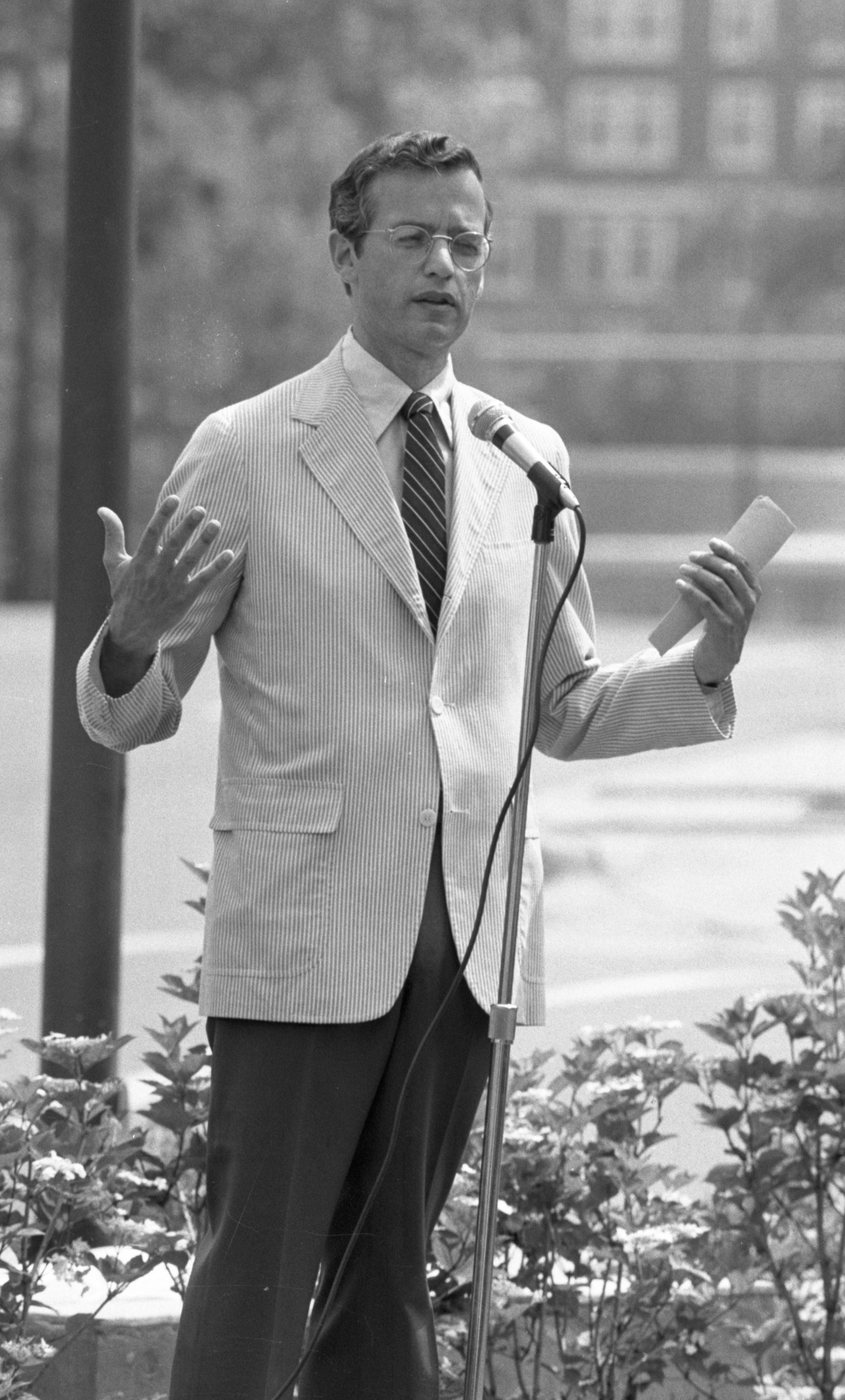 U Of M President Harold Shapiro Speaks At The Dedication Of Ann Arbor's Historical Jewish Cemetery, June 1983 image