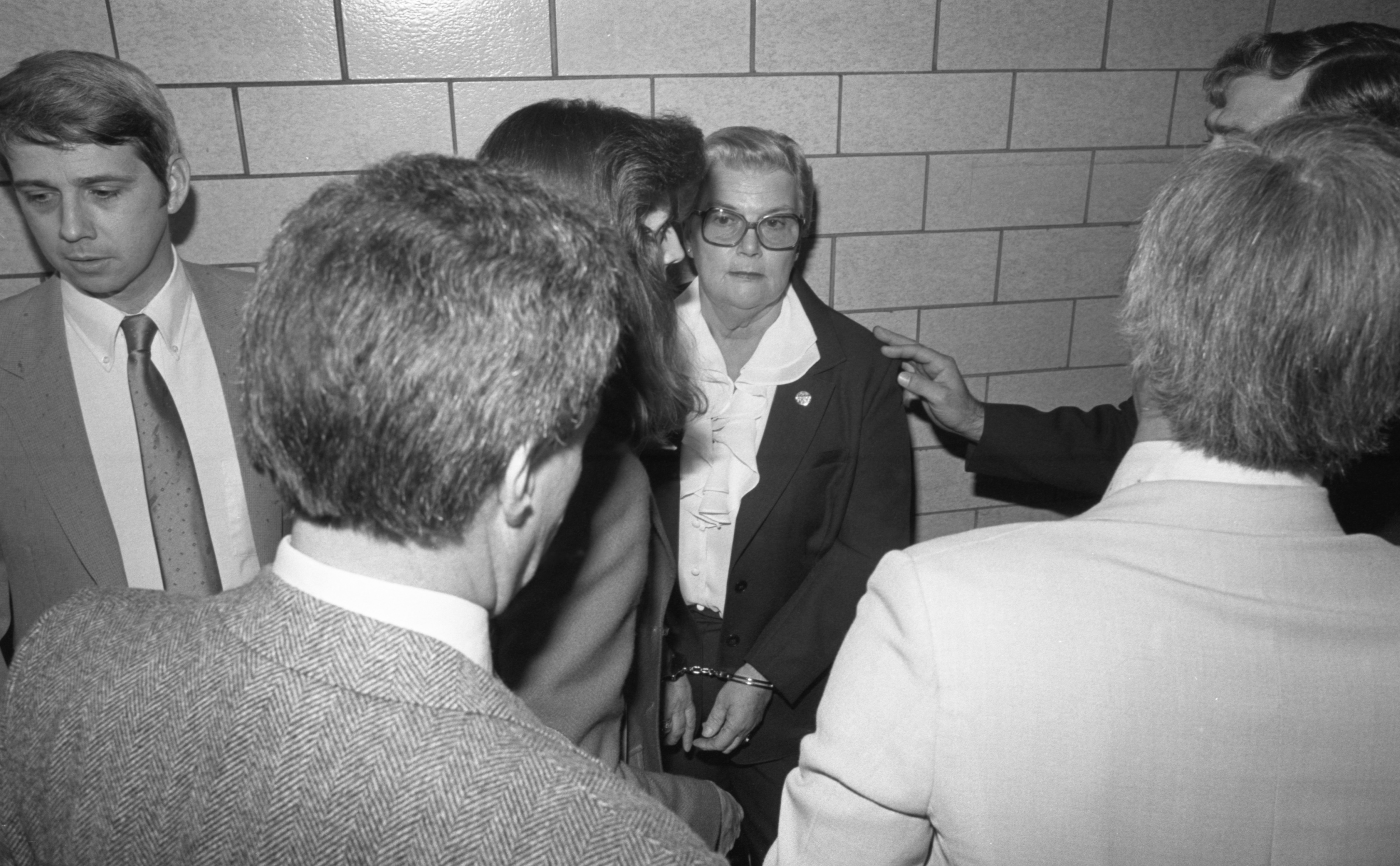 FBI Agents With Slavery Suspect Margarethe Kozminski Inside The Washtenaw County Courthouse, October 1983 image
