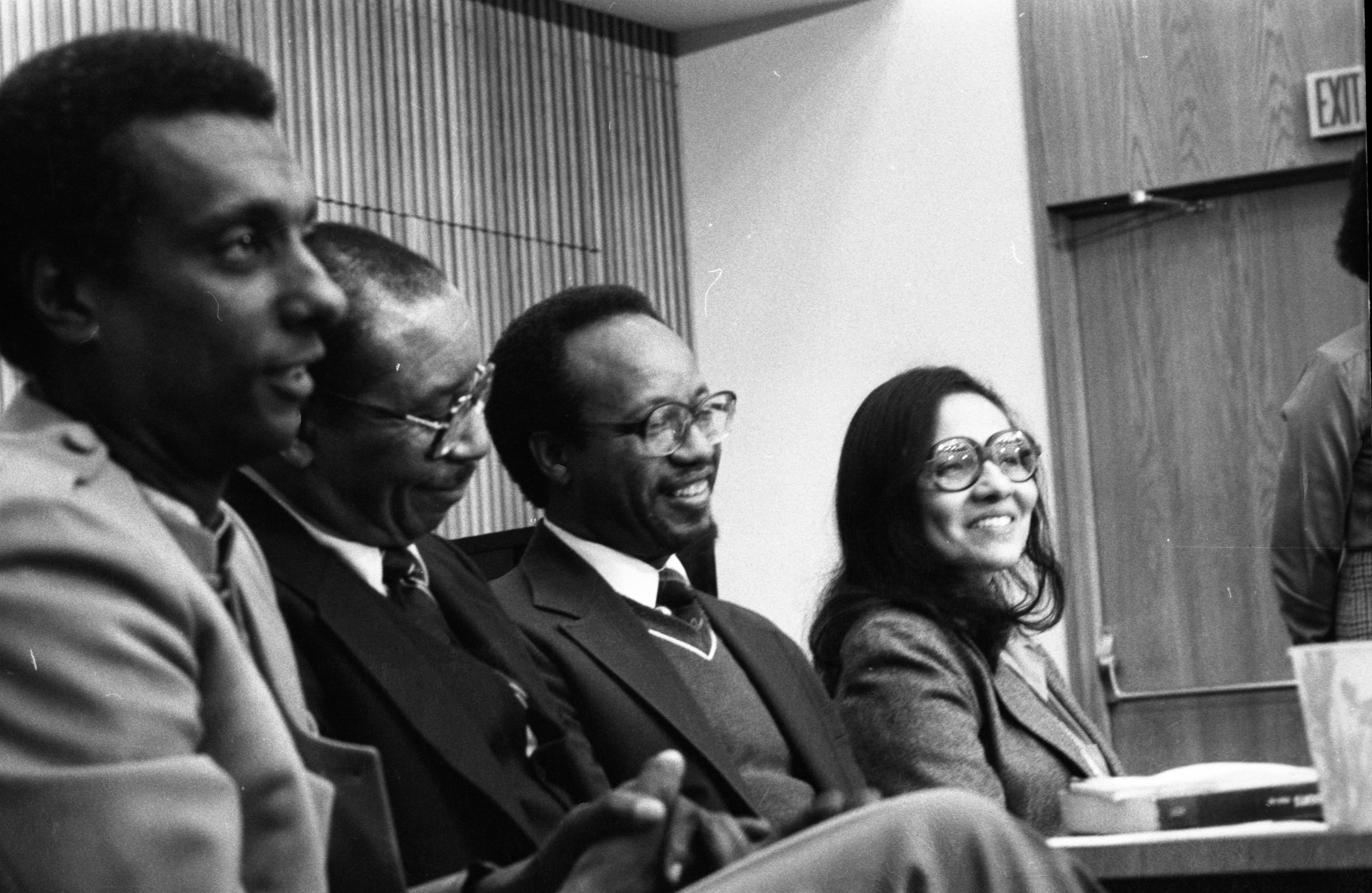 Stokely Carmichael & Others At Hale Auditorium For Conference Honoring Black History Month, February 13, 1983 image