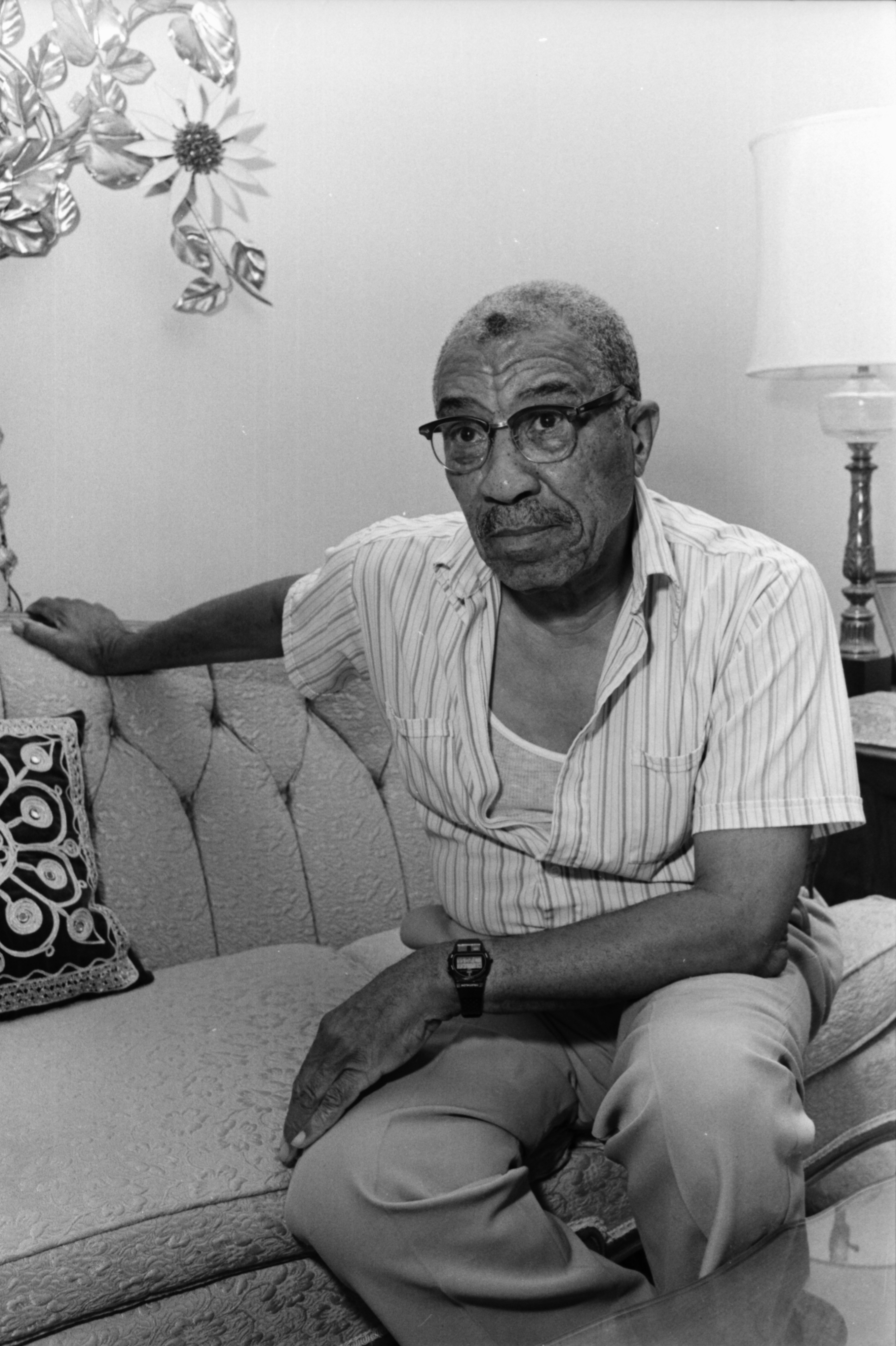 Ypsilanti Historian A.P. Marshall Seated on Couch, July 1987 image