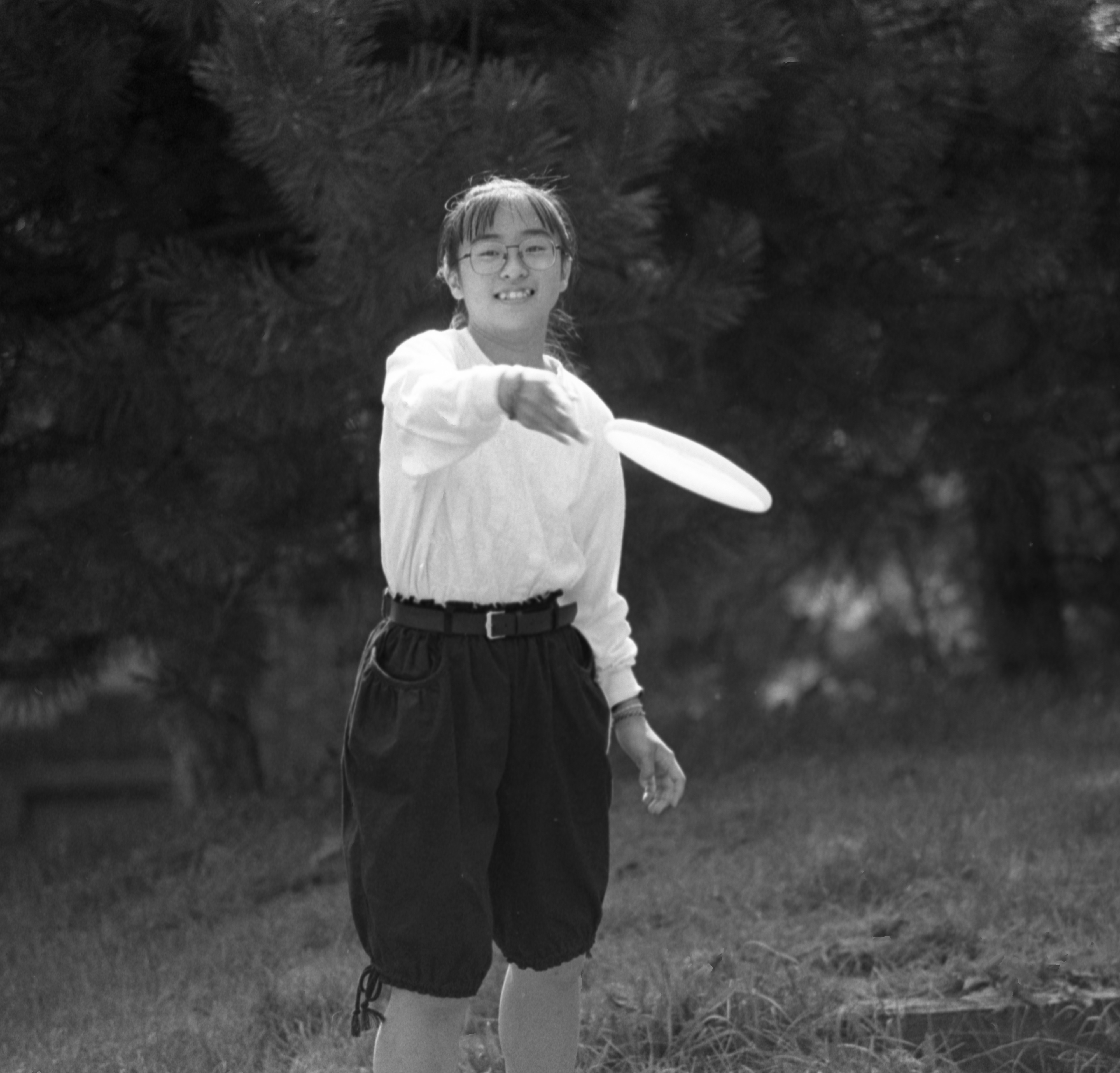 Visitor From Sister City, Hikone, Japan, Learn How To Throw A Frisbee At Hikone Housing Project, September 17, 1988 image