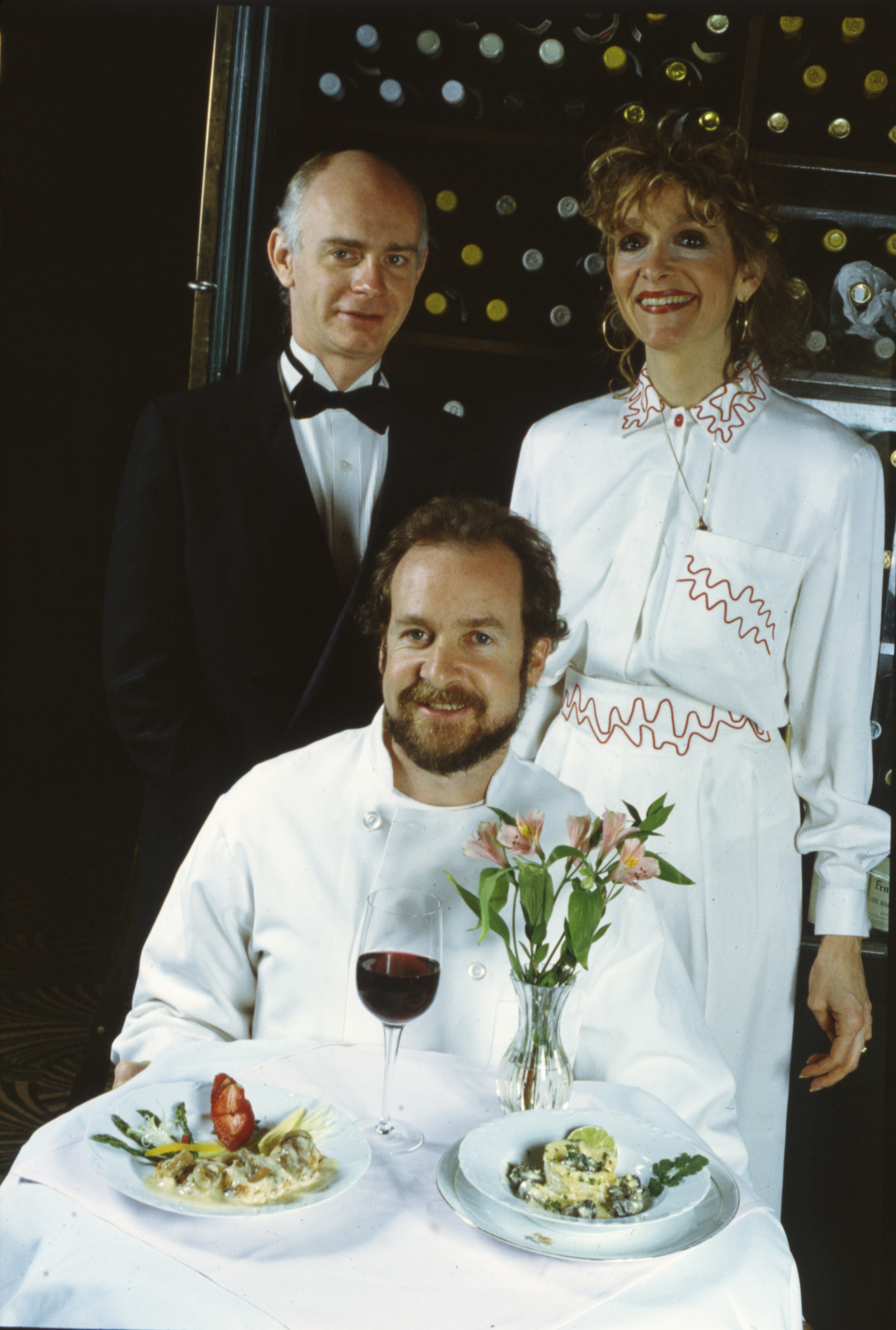 Escoffier Owners Maureen and Tony Pereault and Maitre d' Terry McClymonds, February 1990 image