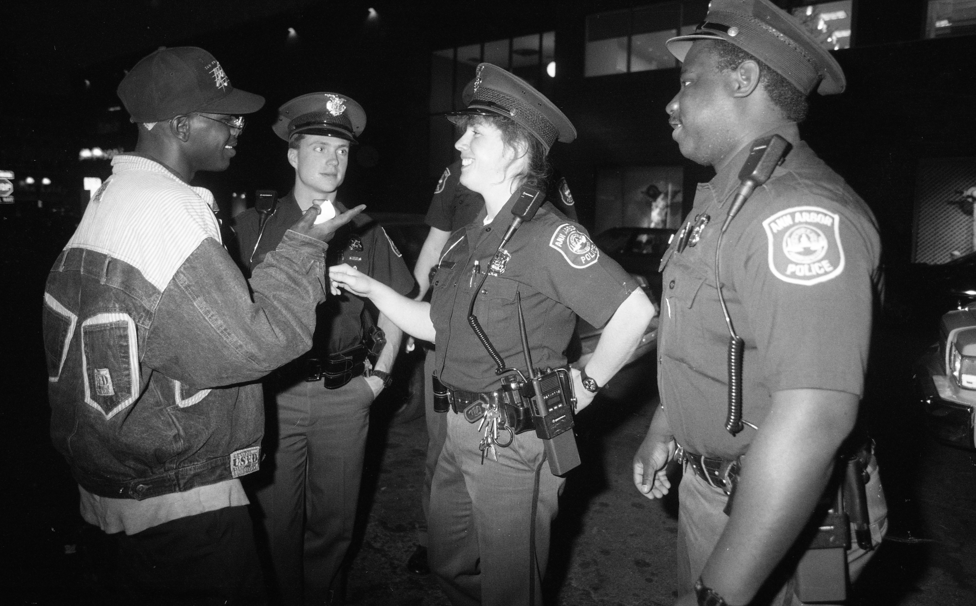 Ann Arbor Police Department Special Problems Unit Officers Engage Community, April 1990 image
