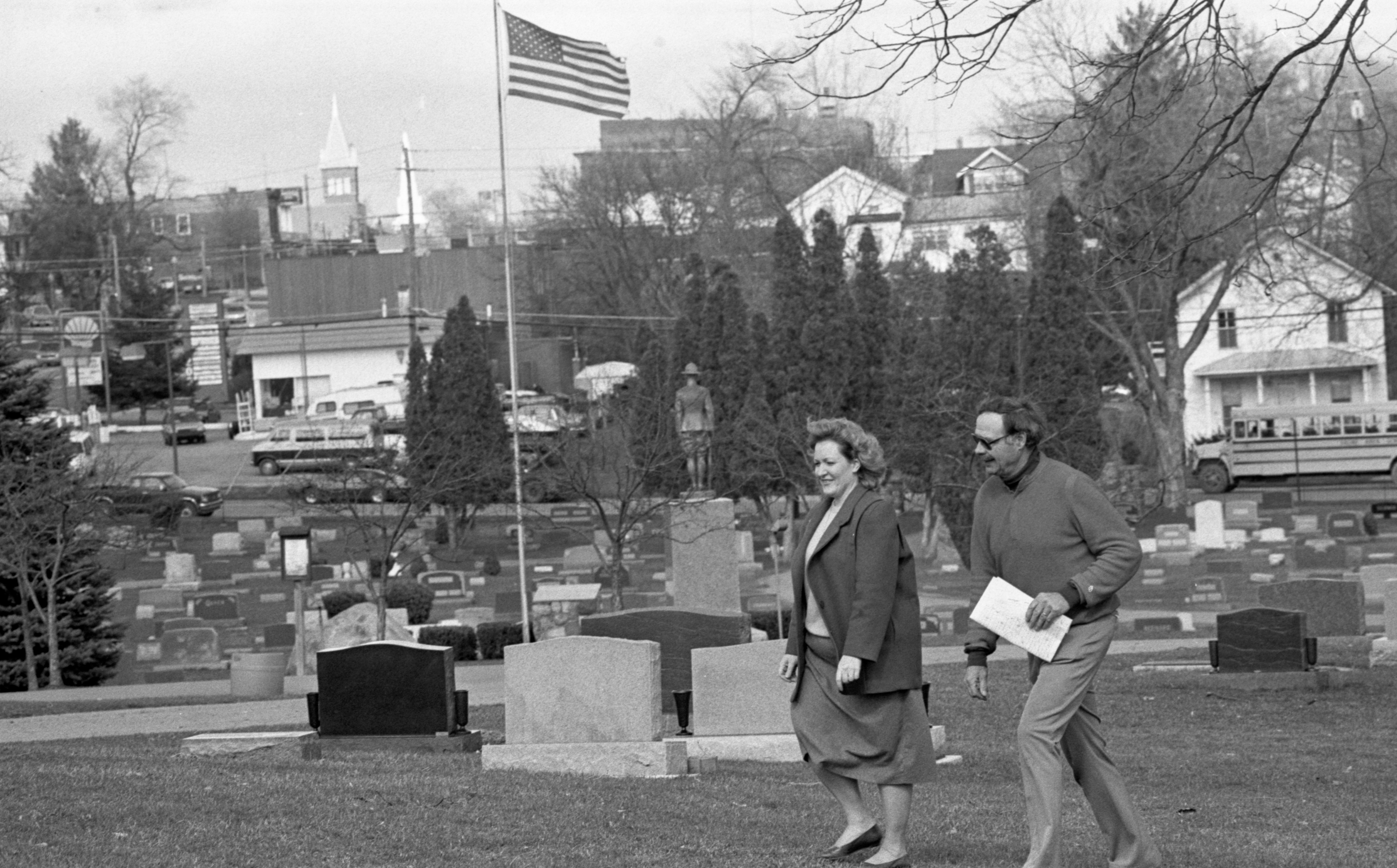 Cindy Langer & Wayne Clements Survey Oakwood Cemetery In Saline, April 1990 image