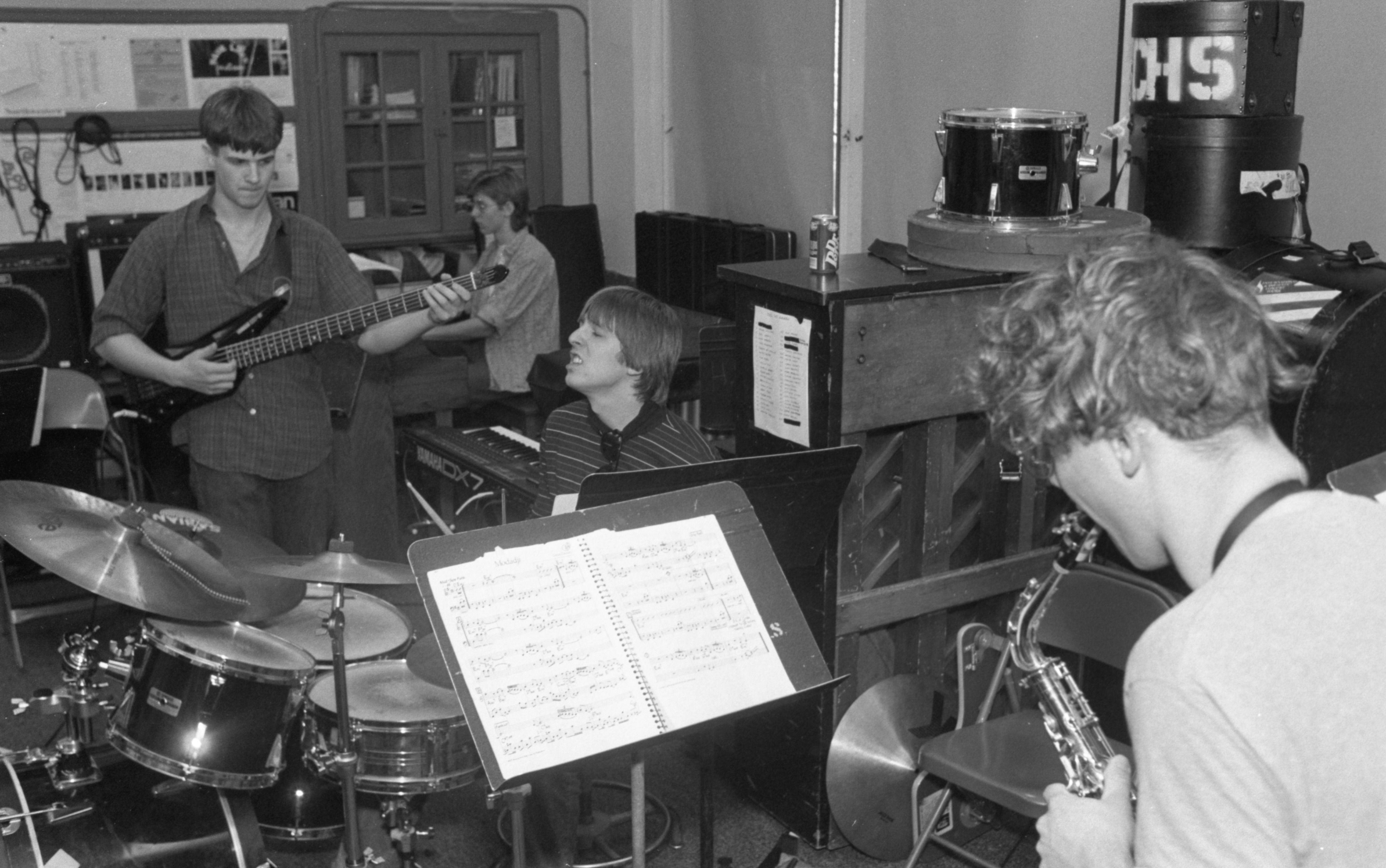Community High School's 1:45 Jazz Ensemble During A Practice Session, March 1990 image