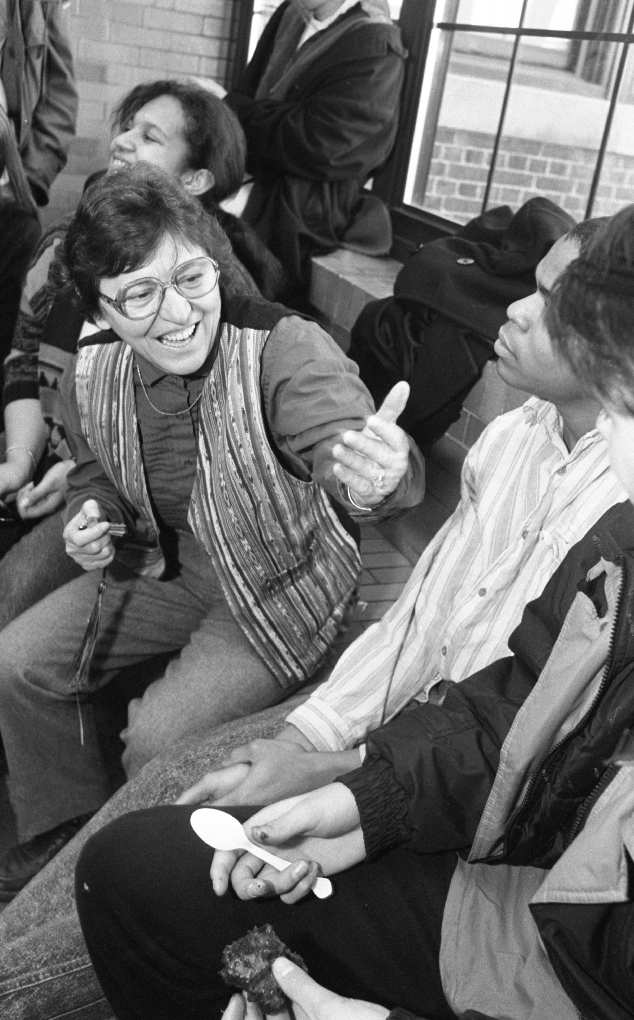 Gena Fine, School-Community Assistant At Community High School, Interacts With Students, March 1990 image