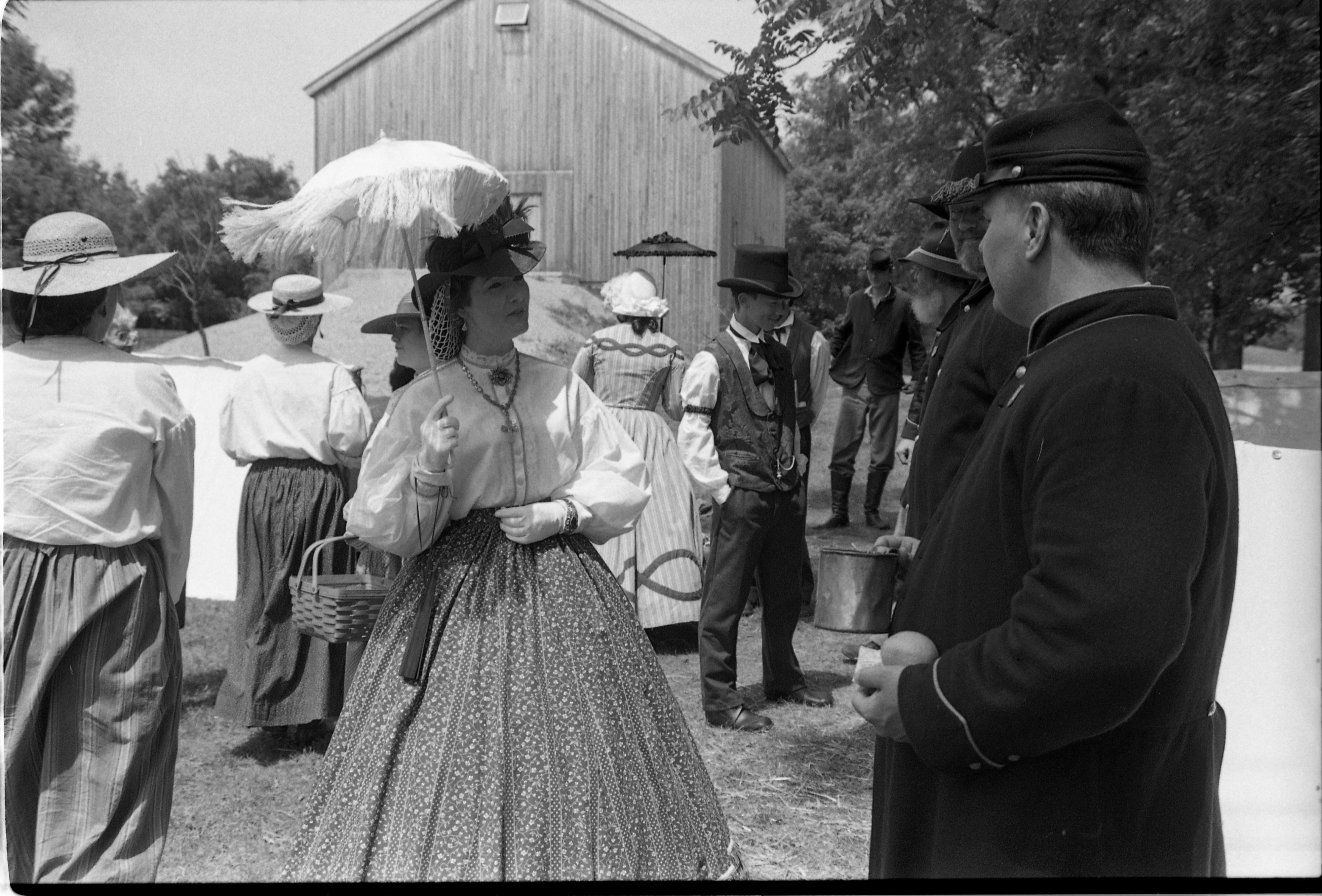 Ruth Ann Bell, Civilian Civil War Re-enactor, Visits Union Soldier Re-enactor, Mark Biolchino, At Cobblestone Farm, July 28, 1990 image