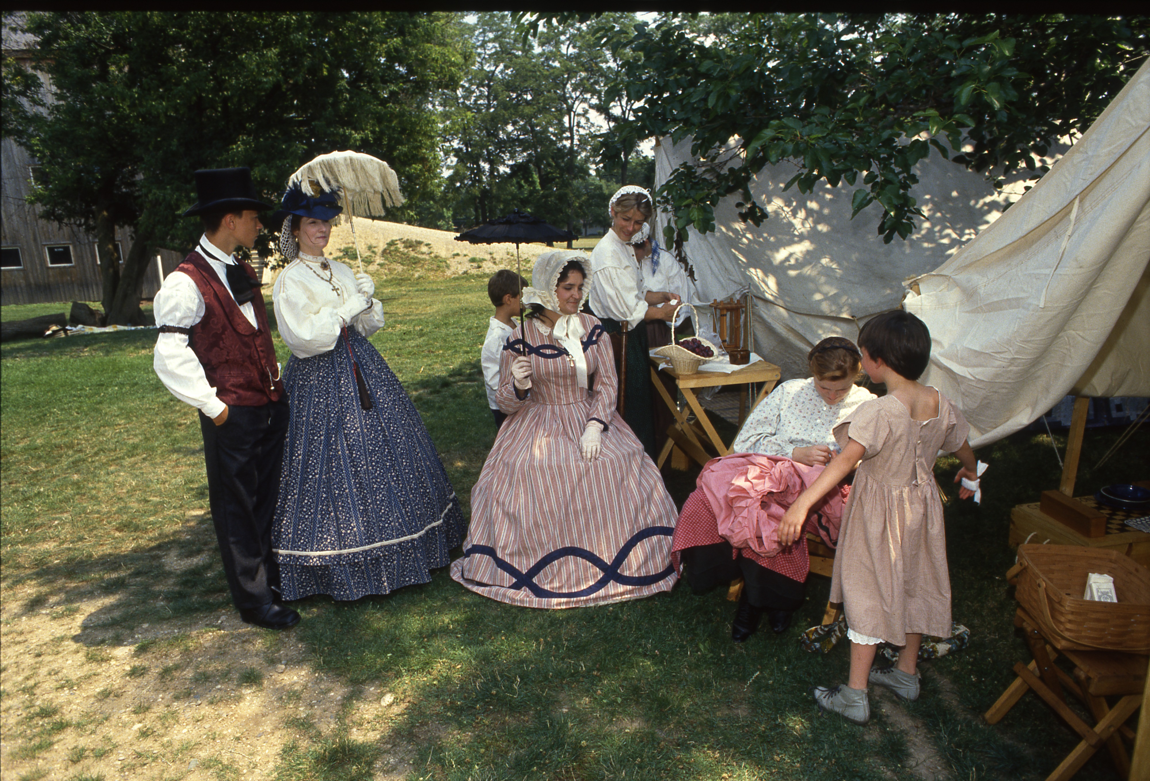 Civil War Era Re-enactment Participants At Cobblestone Farm, July 28, 1990 image