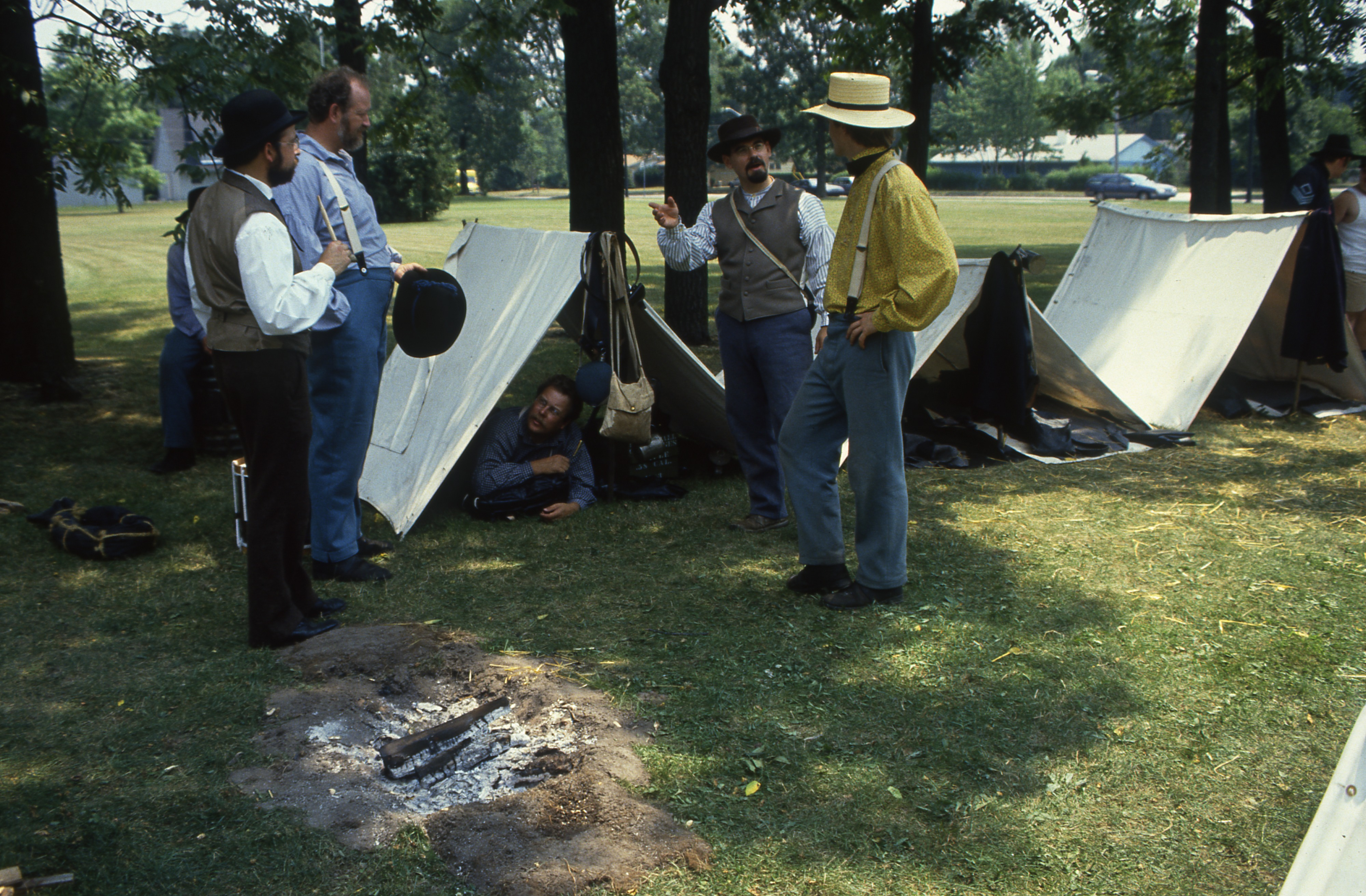 Civil War Re-enactment Participants At Their Tents At Cobblestone Farm, July 28, 1990 image