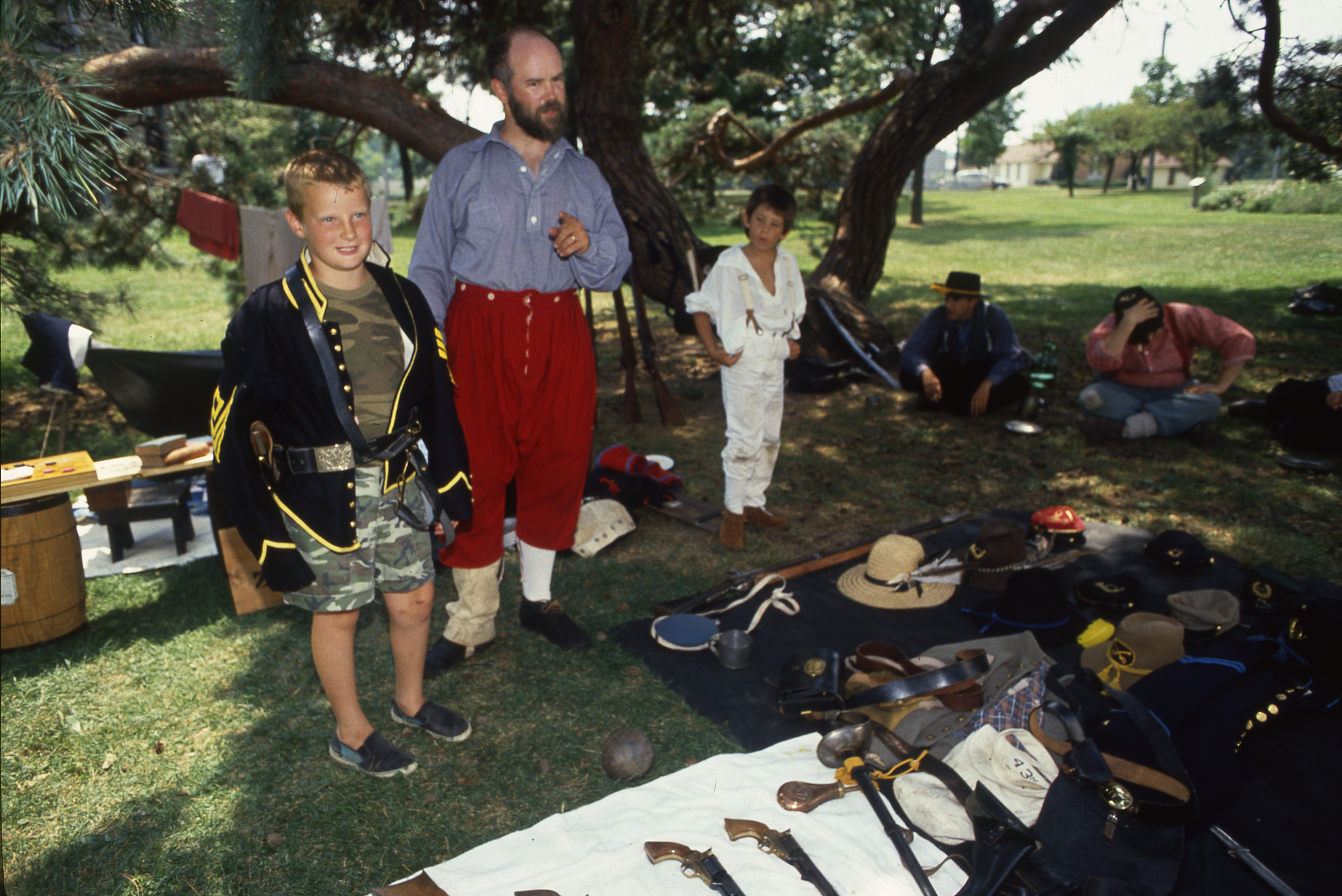 Civil War Era Re-enactment Participants & Their Gear At Cobblestone Farm, July 28, 1990 image
