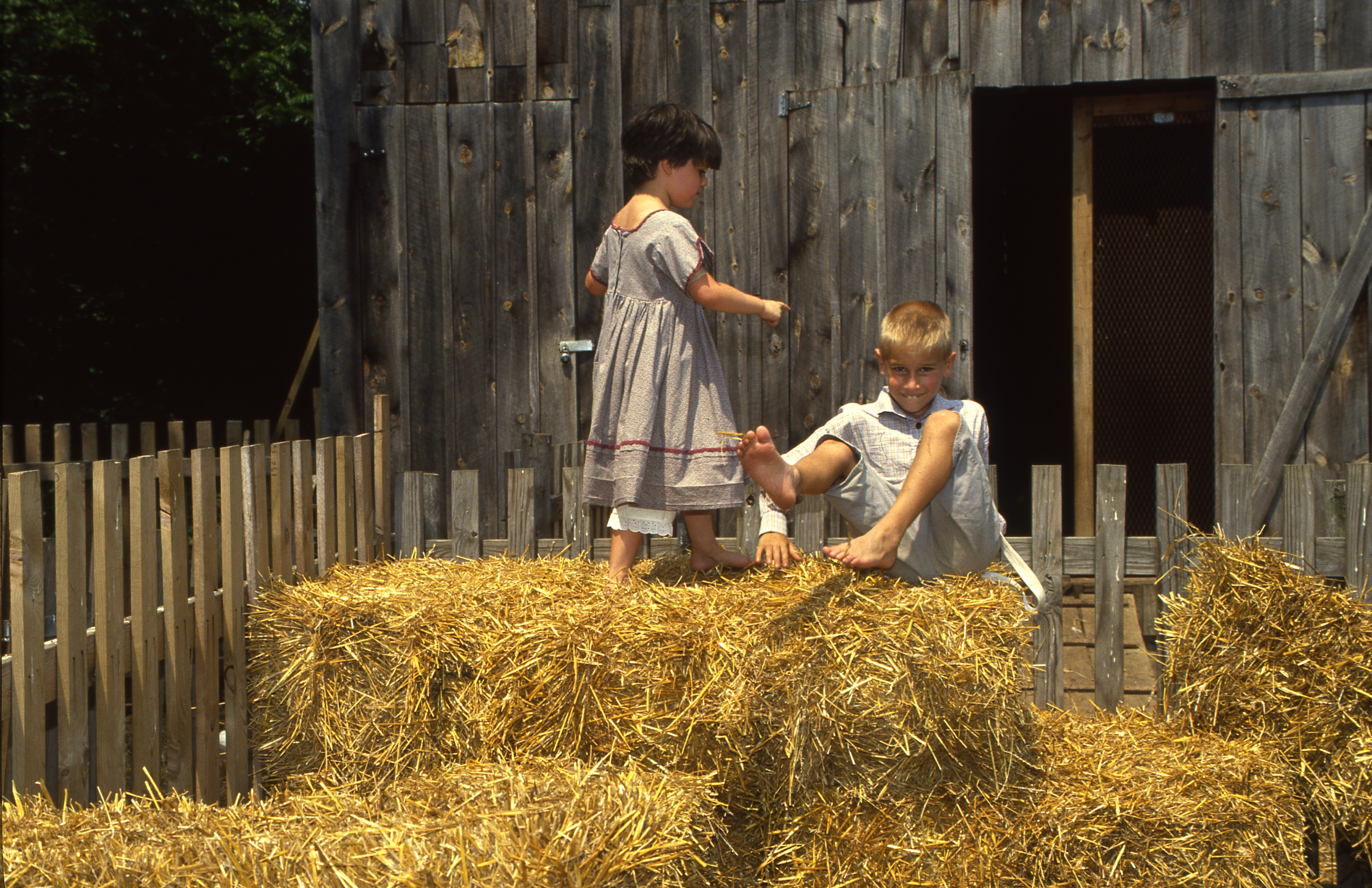 Children Play On Hay Bales At Cobblestone Farm, July 28, 1990 image