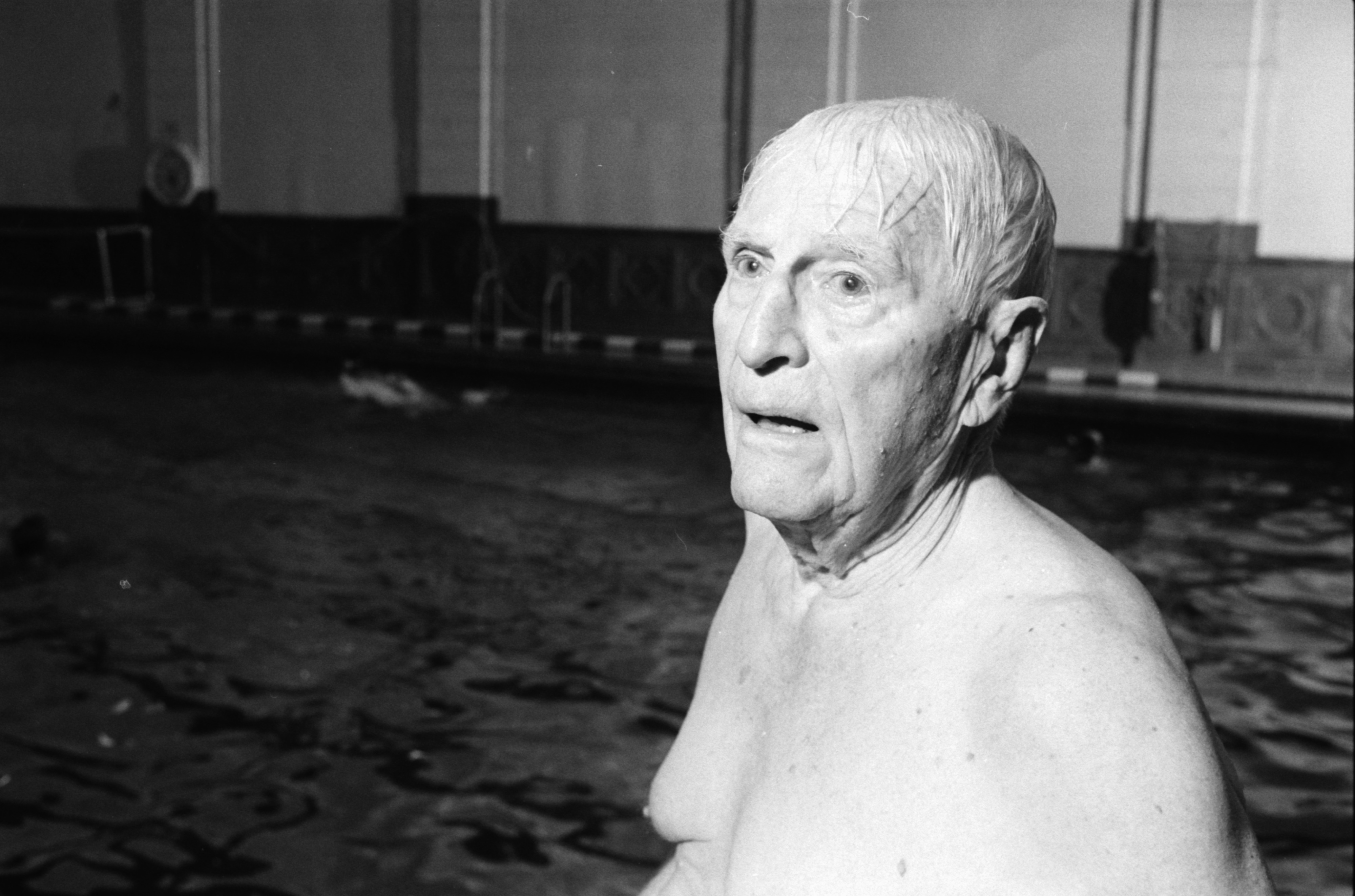 Eugene B. Power at a Swim Group in the Intramural Building, July 1990 image