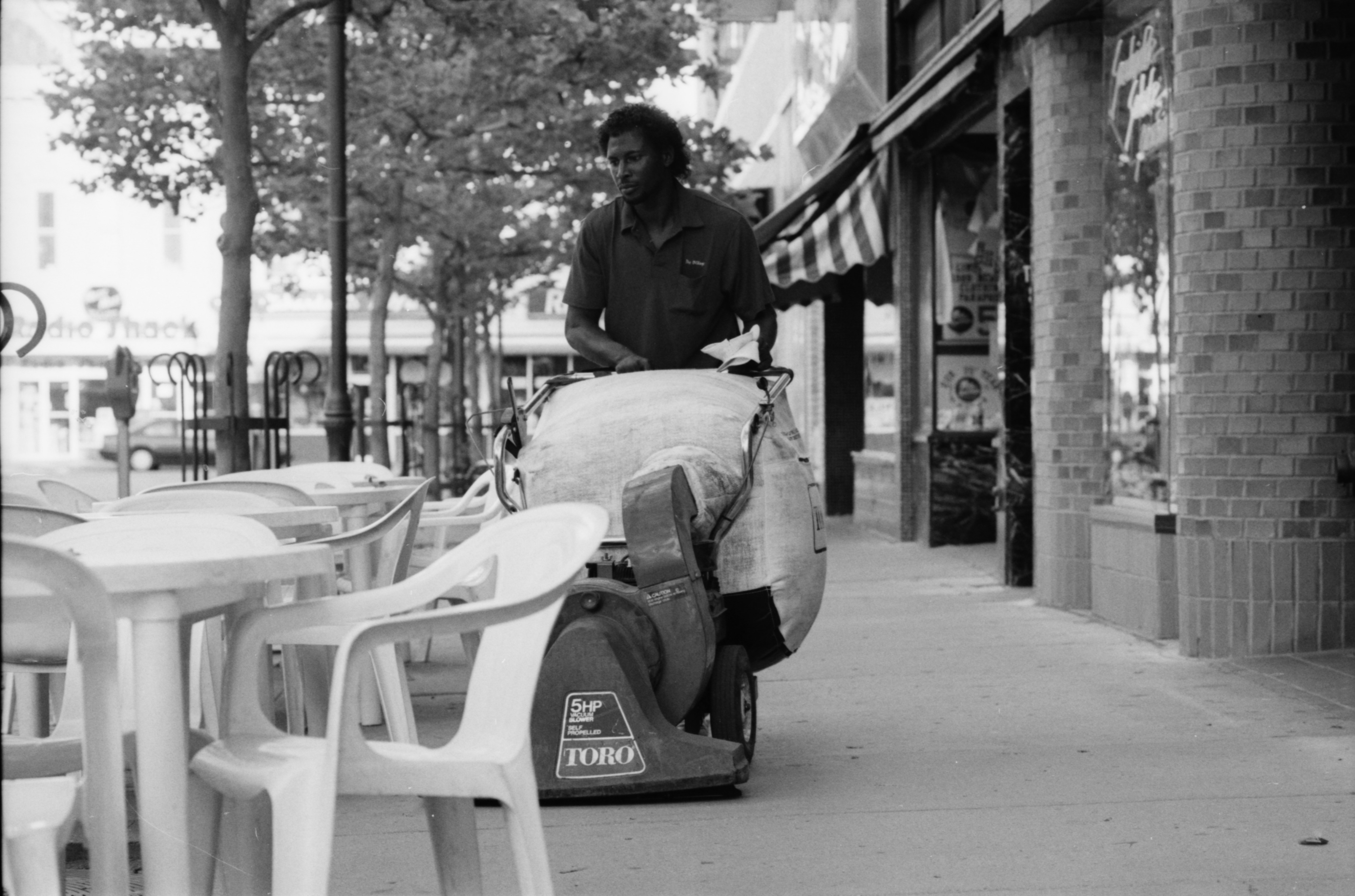 Vincent Burton Cleans the Business District for State Street Area Association, July 1990 image