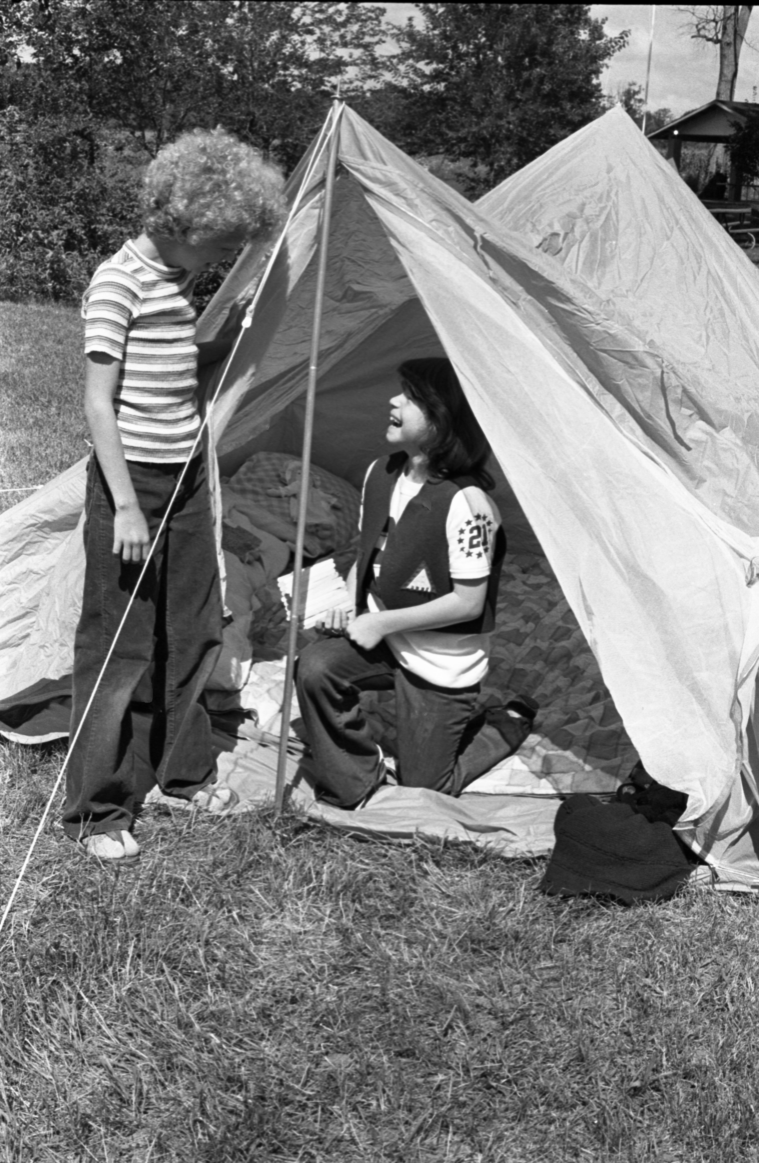 Camp Fire Girls Set Up Tents At Moose Campgrounds, August 1979 image
