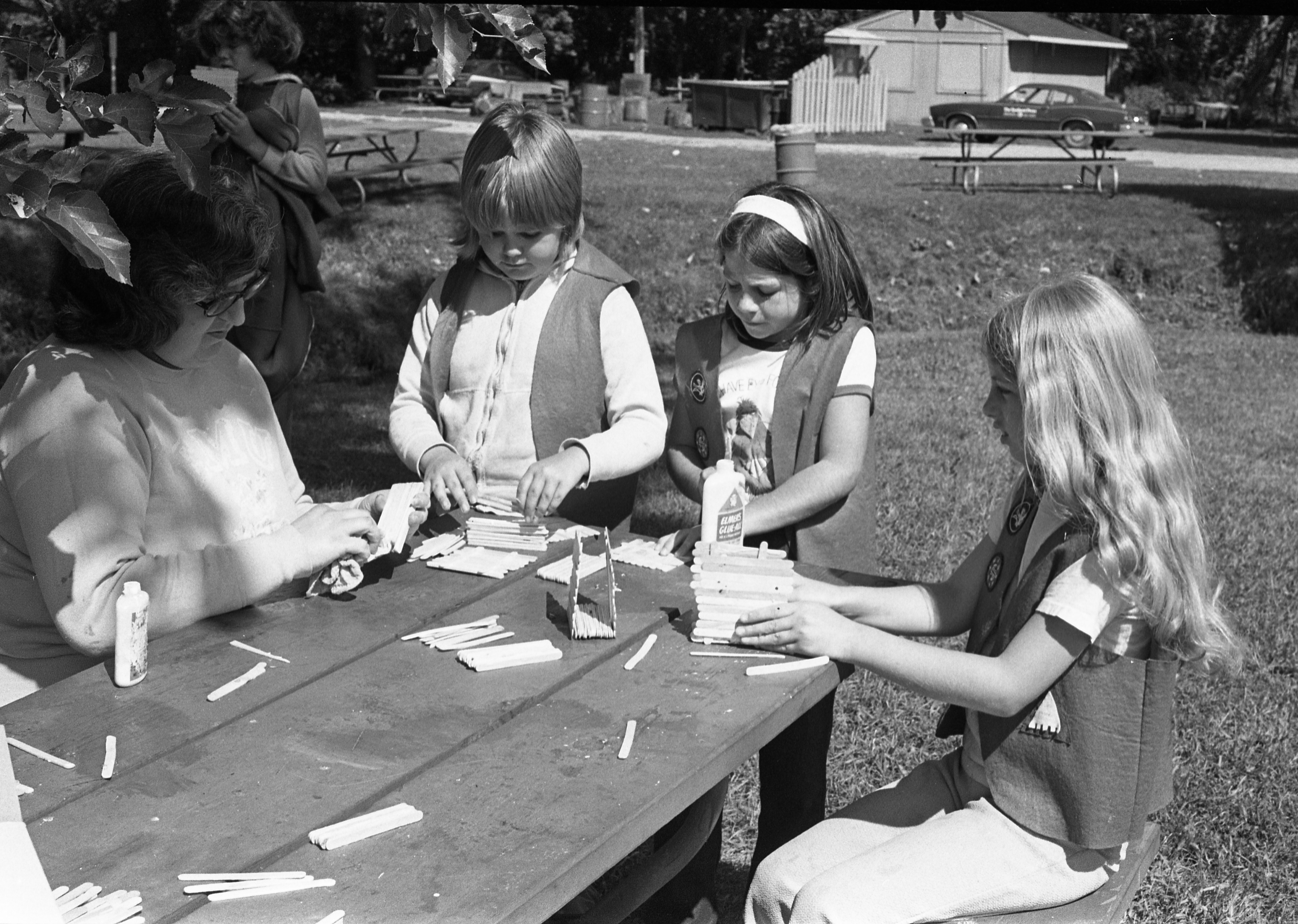 Craft Time For Camp Fire Girls & Leader At Moose Campgrounds, August 1979 image