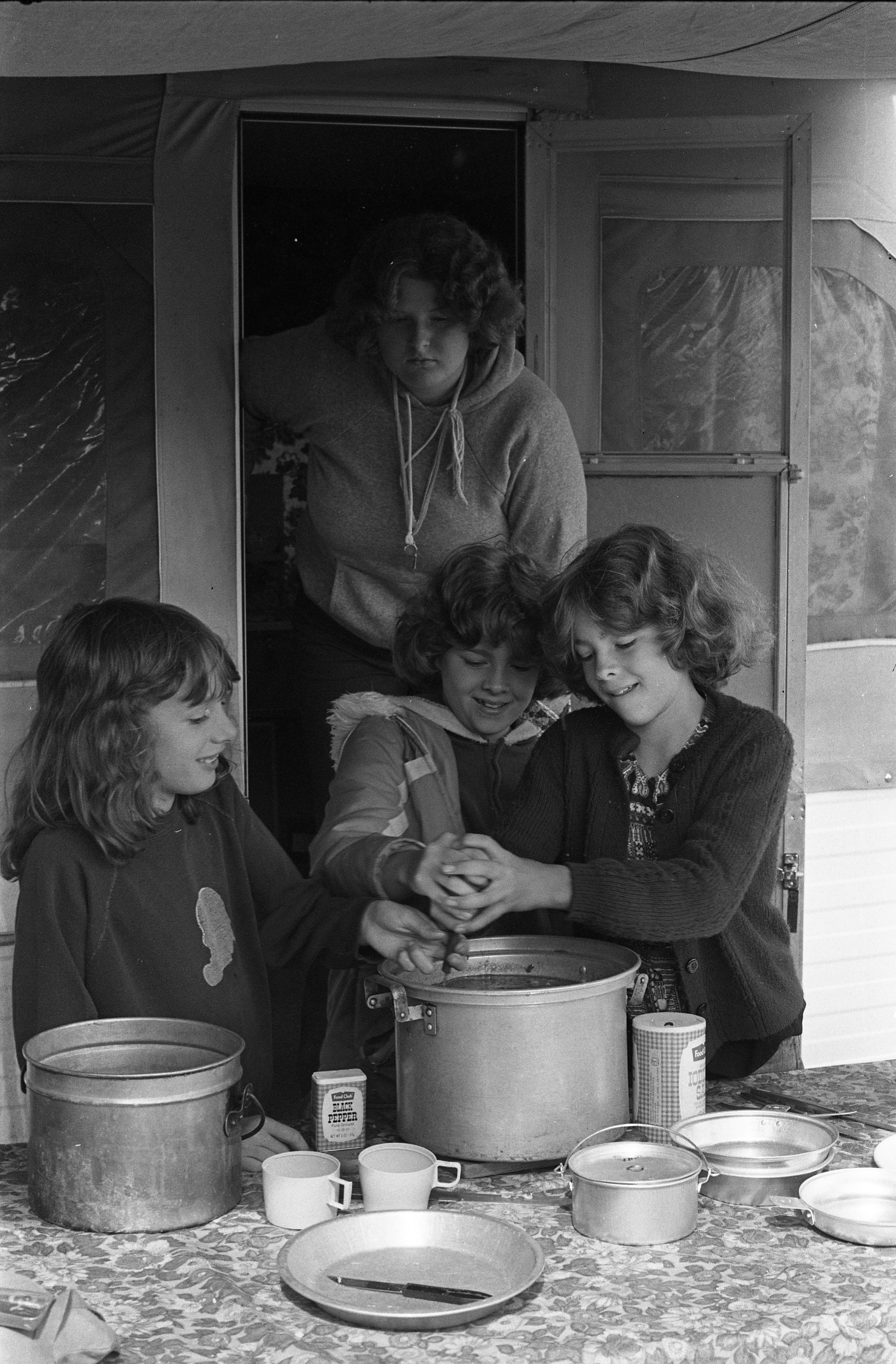 Camp Fire Girls Cook At Moose Campgrounds, August 1979 image