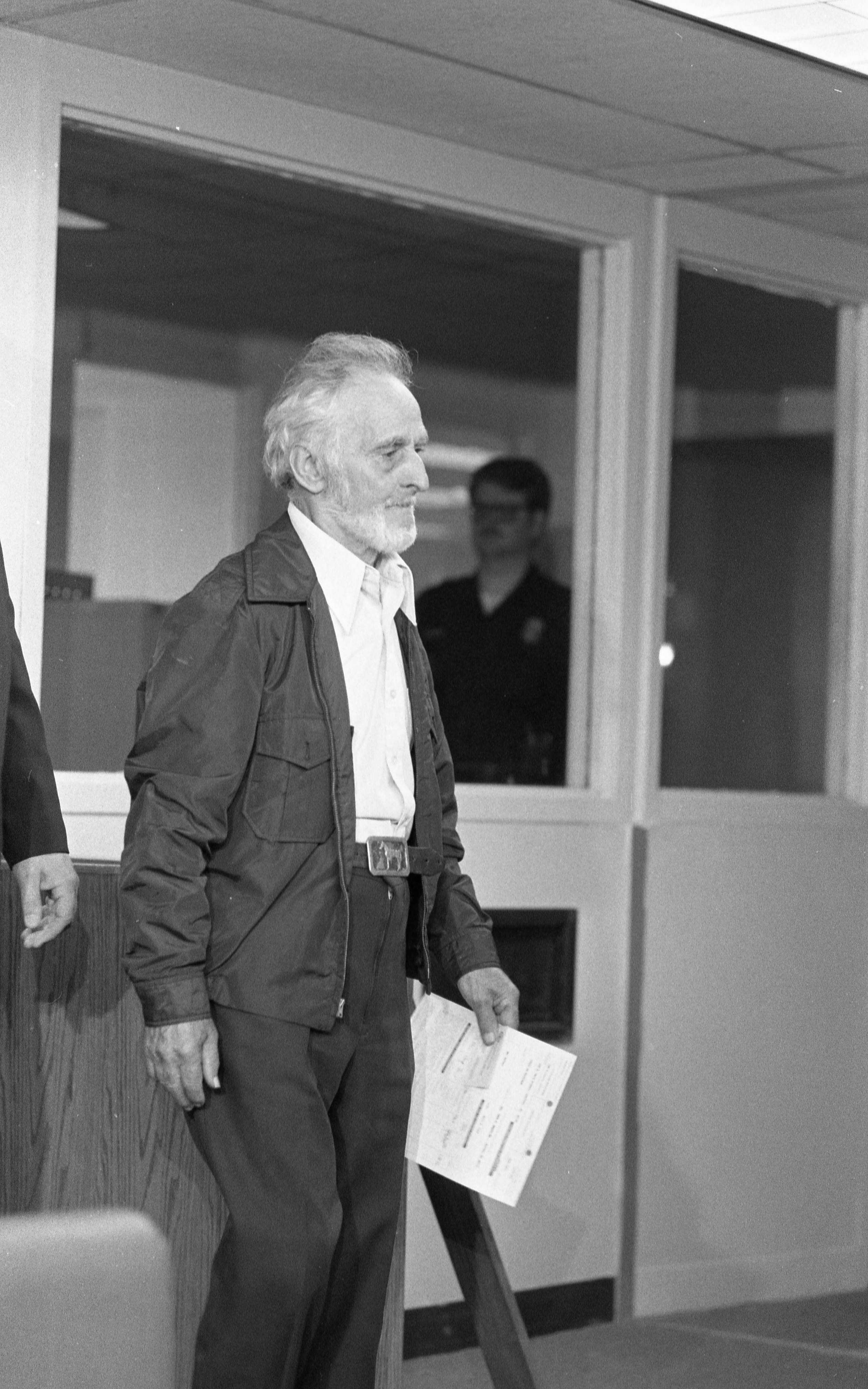 Wilford P. Cashman, aka John E. Burns, At Washtenaw County Jail After His Arraignment, June 1987 image