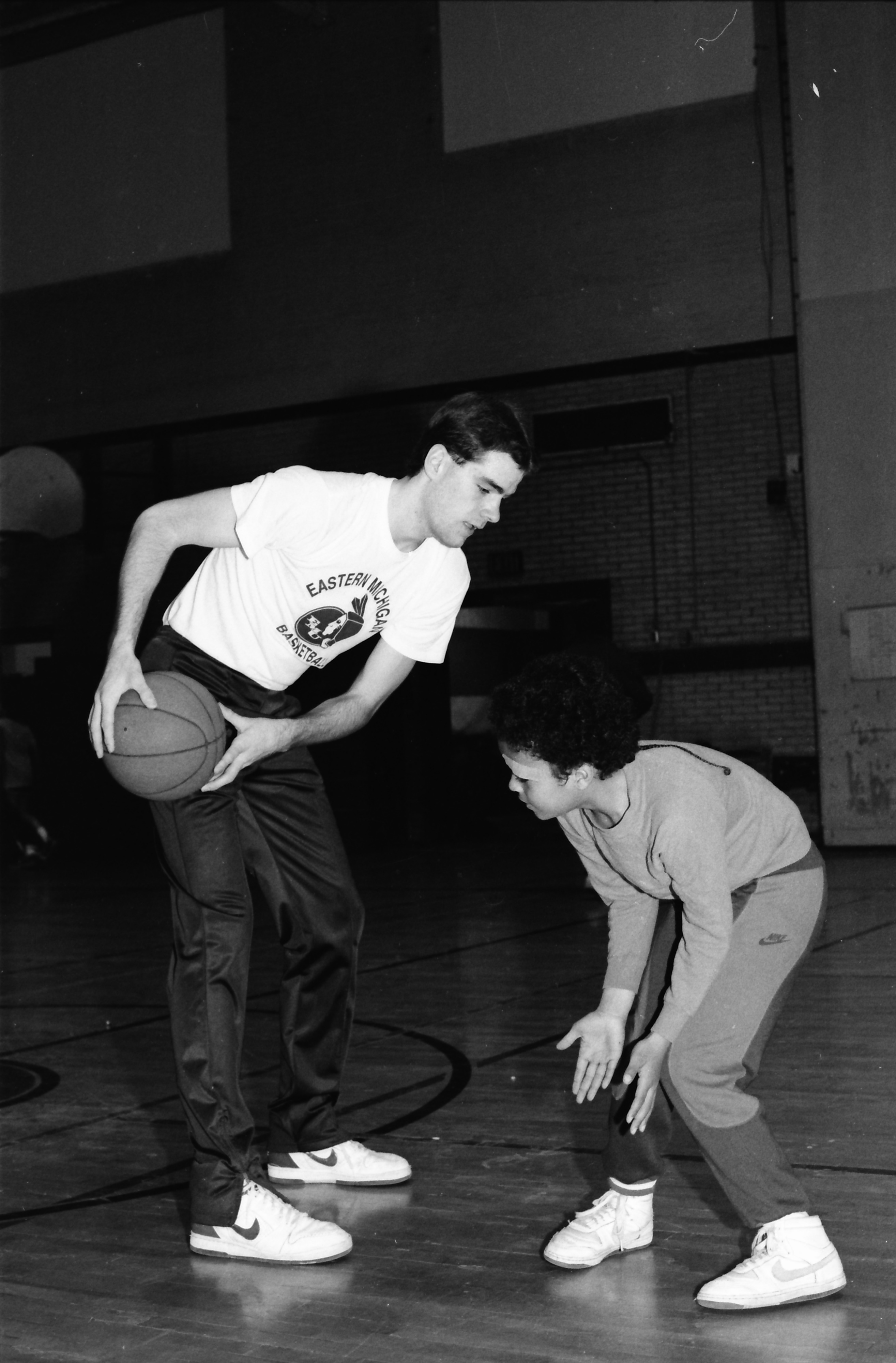 Brad Soucie and Javon Hurston Practice for Parkridge Basketball League, March 1986 image