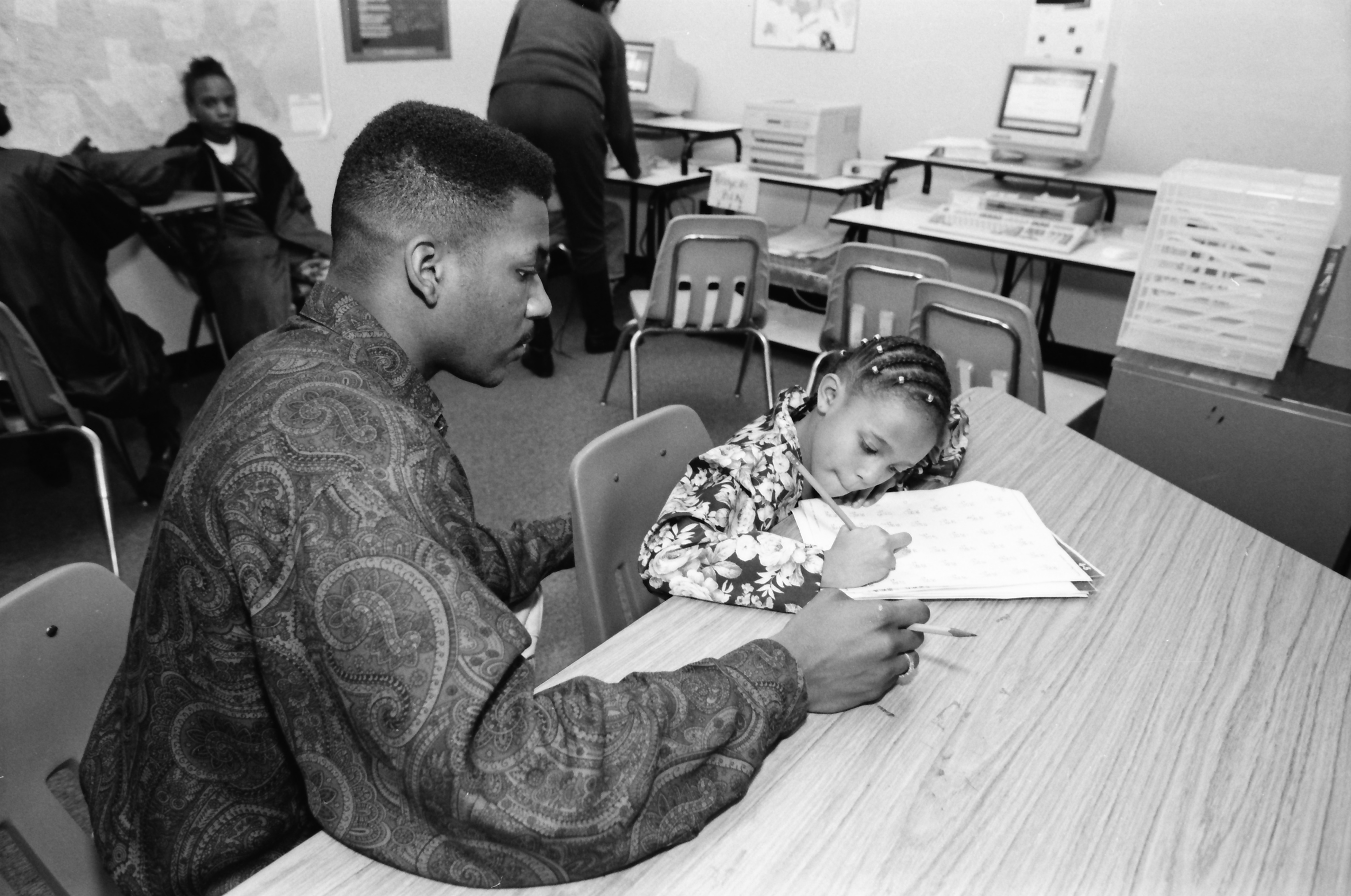 Charles Winston Helps Tutor at the Learning Center at Parkridge Community Center, February 1992 image