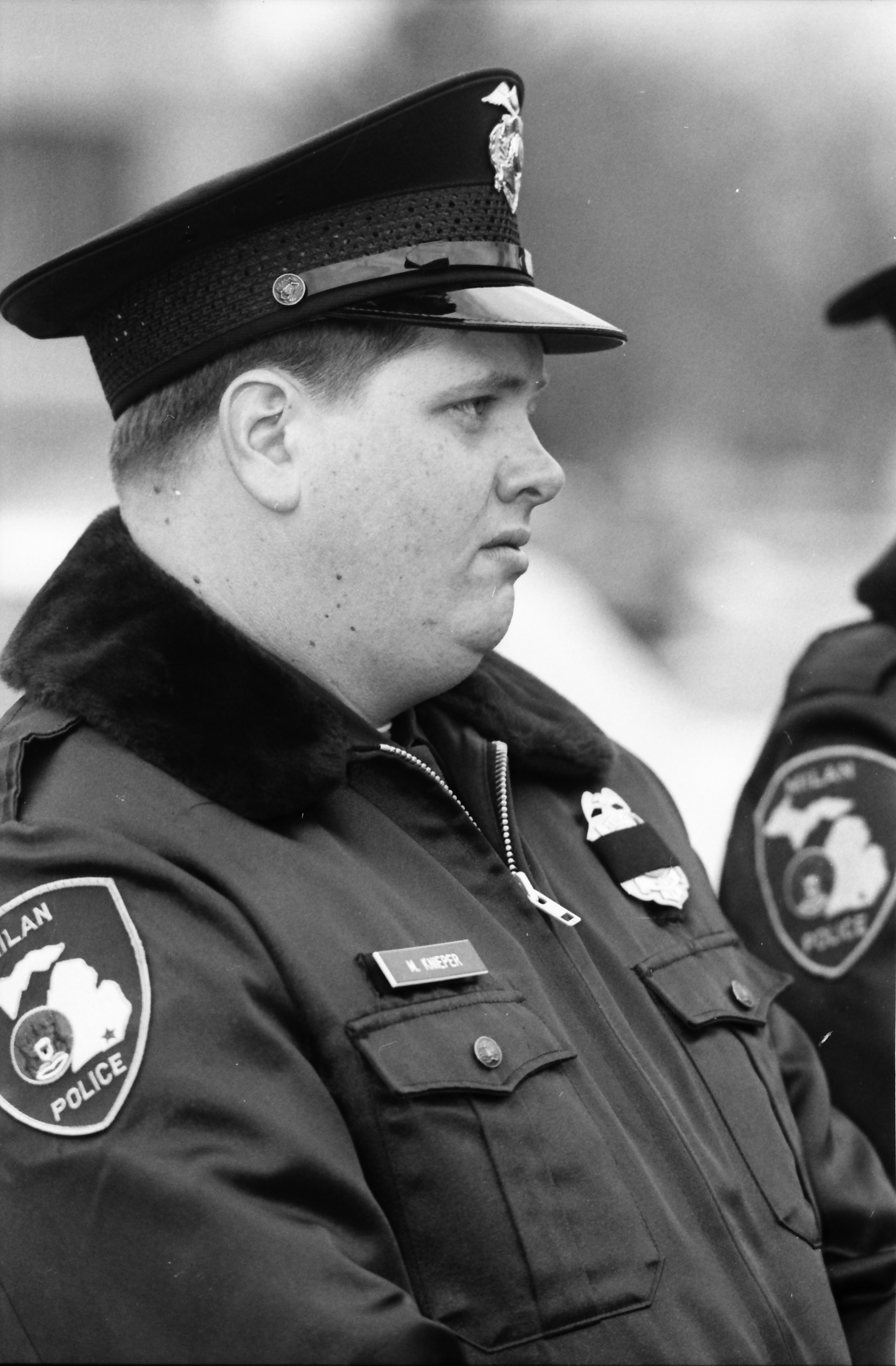 Mike Knieper Honors Officer Steve Reuther at His Memorial, February 1992 image
