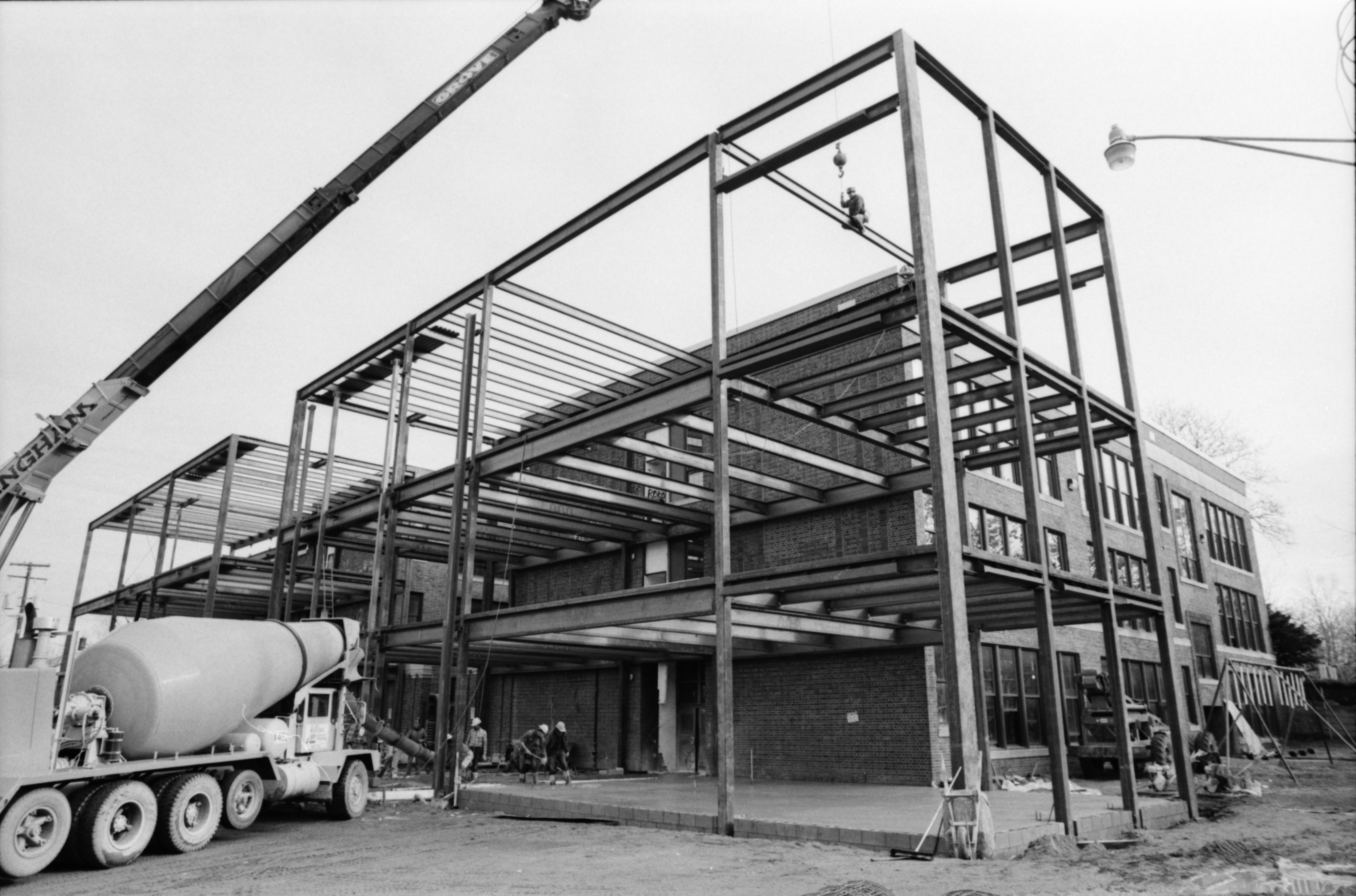 Wide View of Three-Story Addition to Community High School, November 1991 image