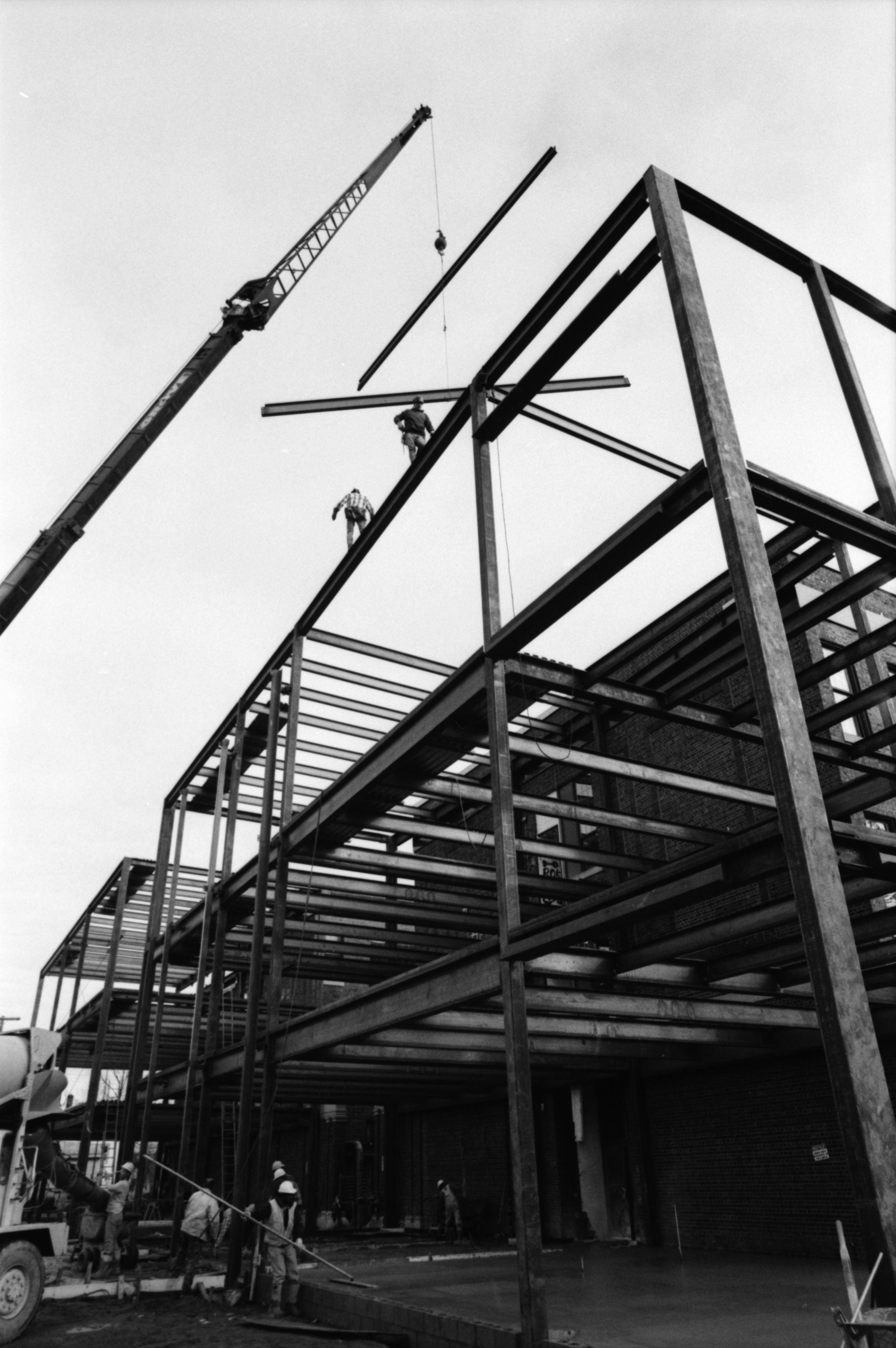 Work Progresses on Three-Story Addition to Community High School, November 1991 image