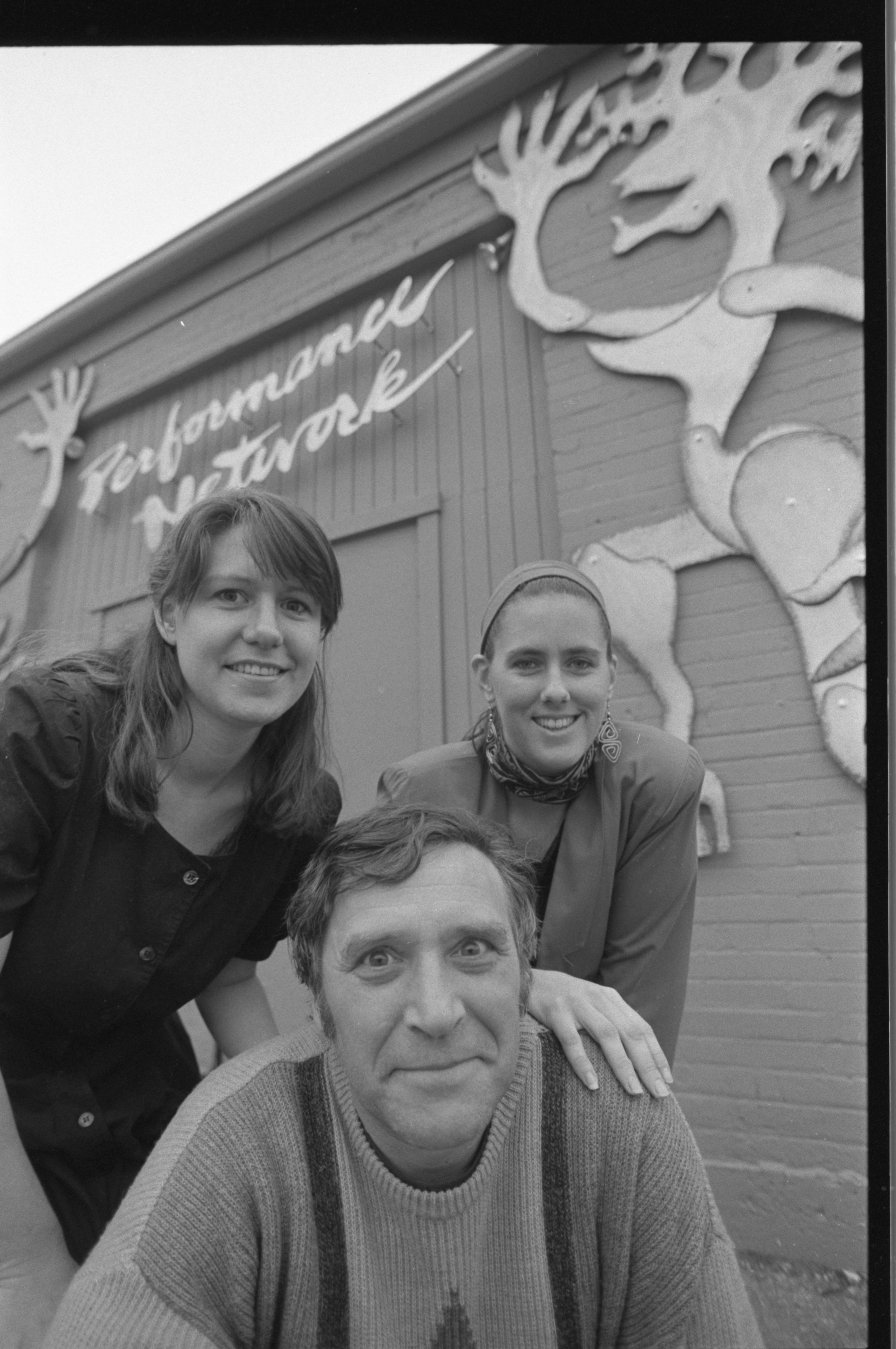 Johanna Broughton, David Bernstein, Kaysie Dannemiller smile outside of Performance Network, November 1991 image