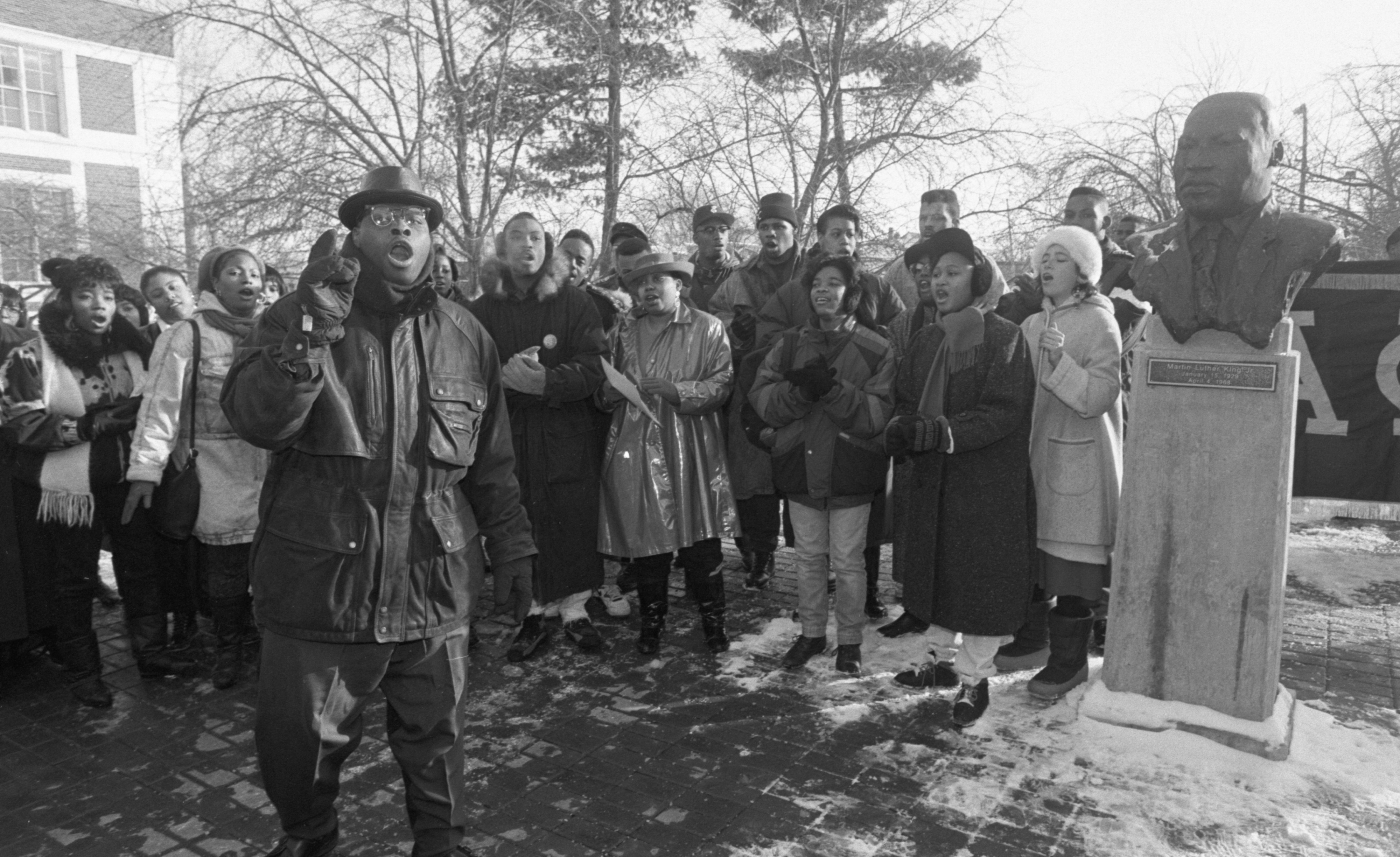 Melvin Miller Leads The EMU Gospel Choir In Song At A Martin Luther King Jr. Memorial Ceremony - January 20, 1992 image