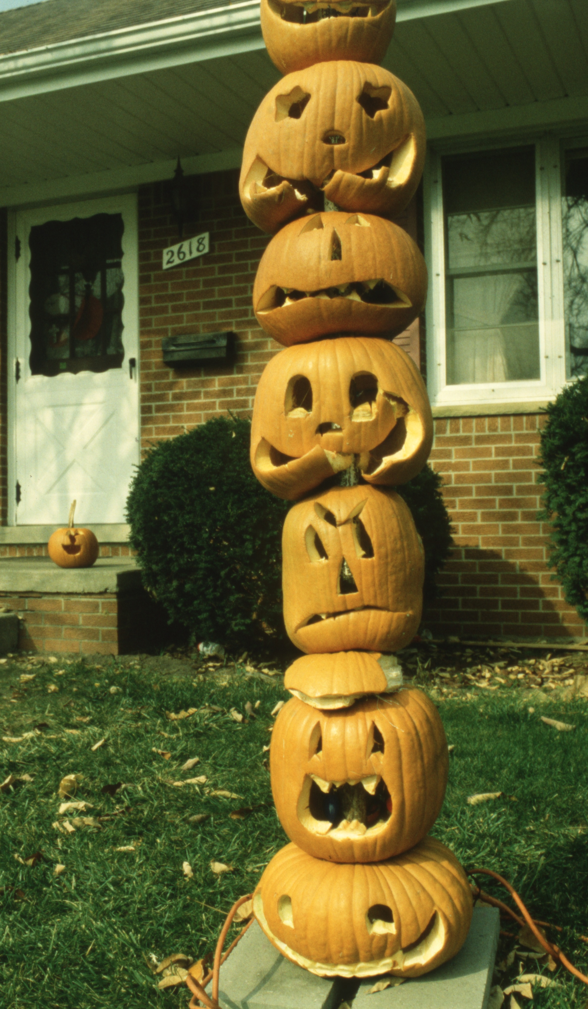 Totem Pole Of Pumpkins At 2618 Sequoia, October 1991 image