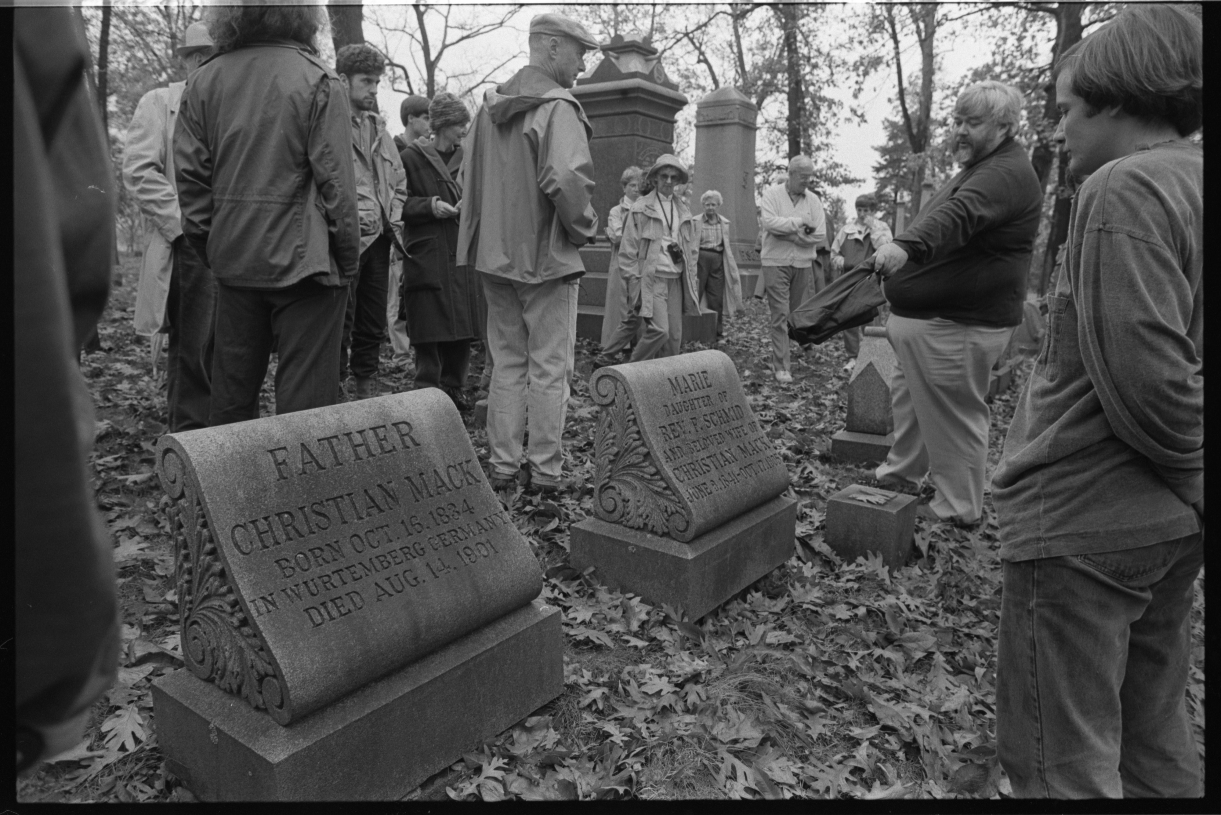 Wystan Stevens, Historian, Conducts A Tour Of Forest Hill Cemetery, October 26, 1991 image