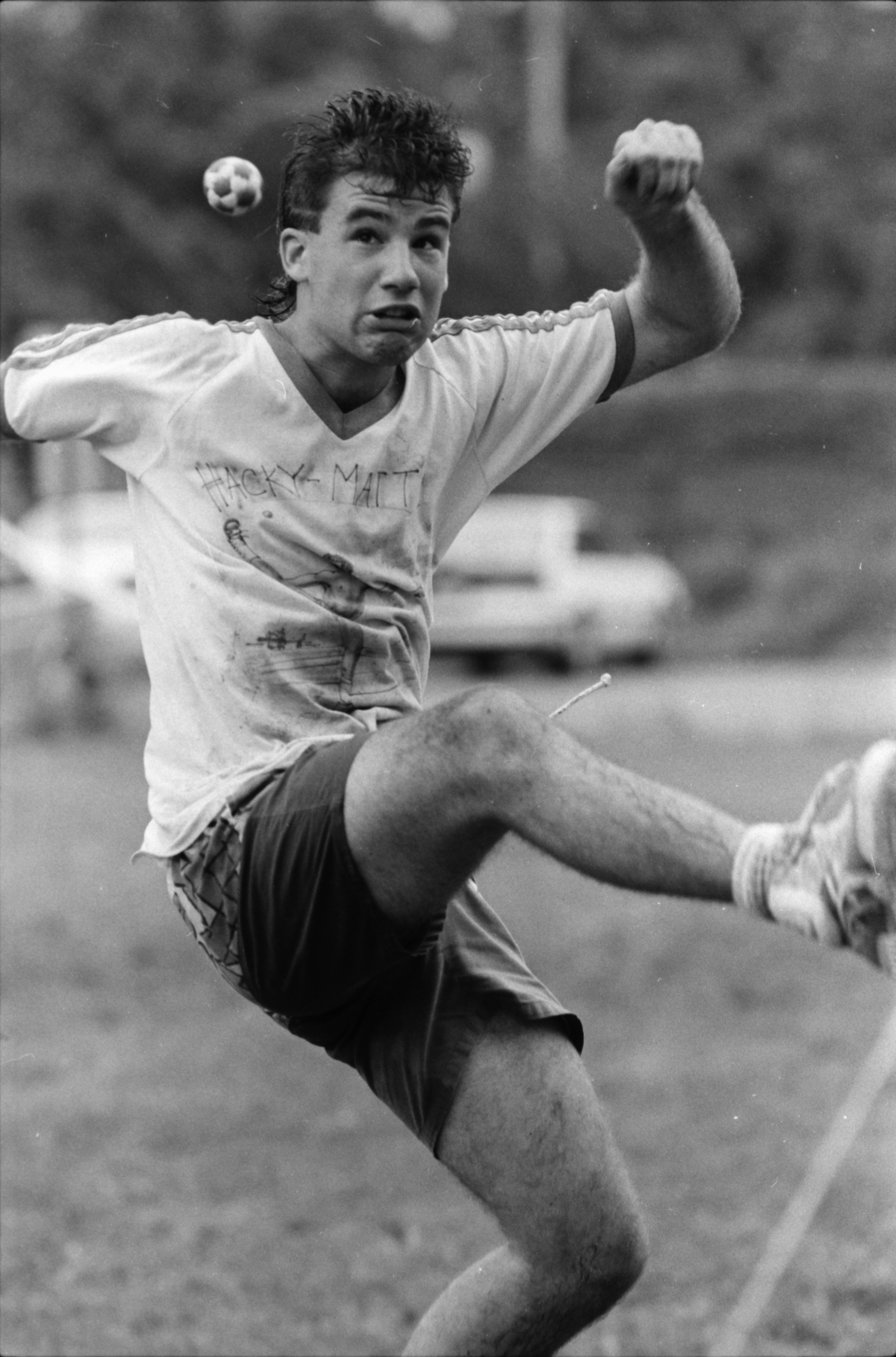 Matt Mattson in the Great Lakes Invitational Footbag Championships at Community High, June 1991 image