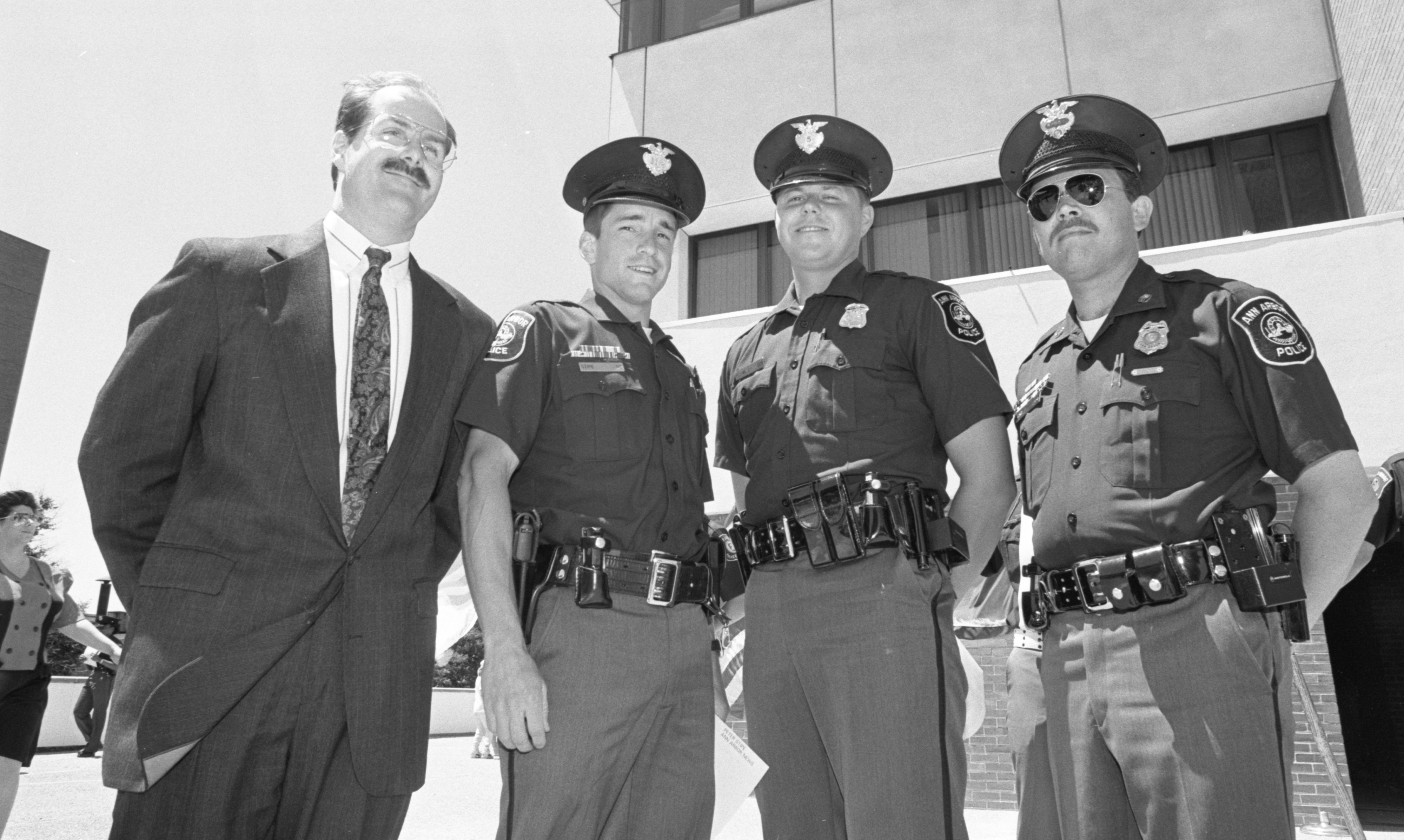 Thomas Tanner, Peter Stipe, Jeffrey Flynn, & John King Of The Ann Arbor Police Department, Recipients Of The Ann Arbor News Award Of Valor, June 1991 image