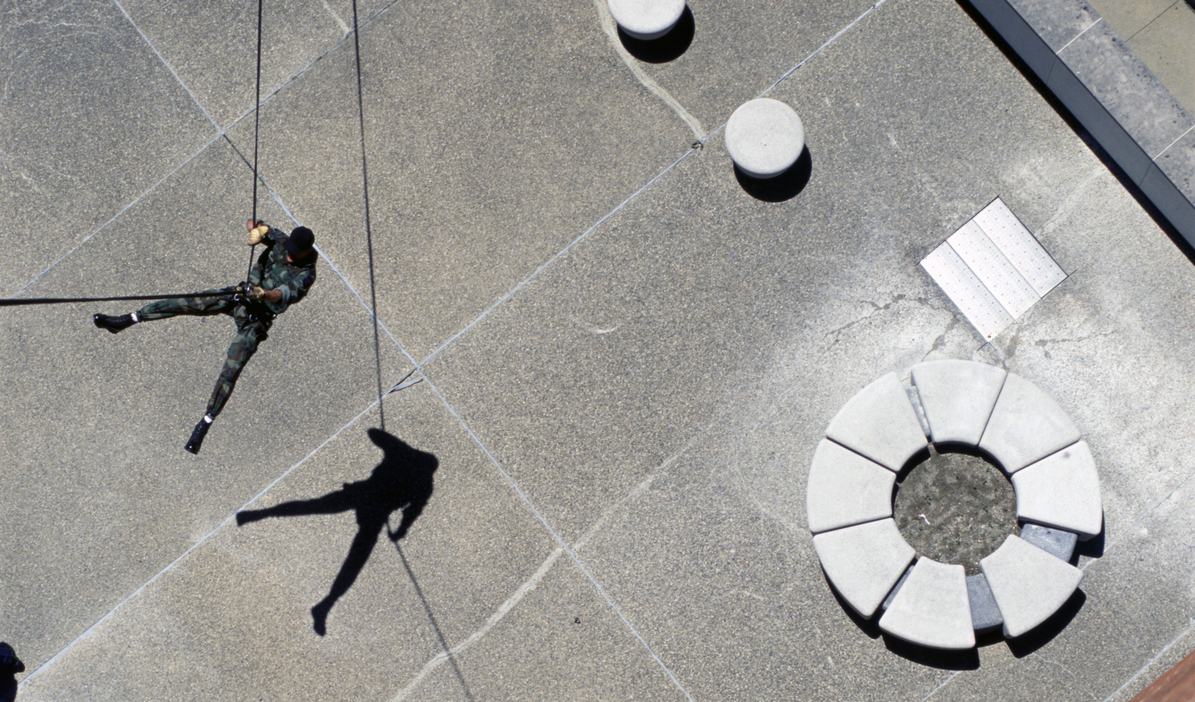 Police Captain Gary Kistka Rappels From The Top Of City Hall, June 1991 image