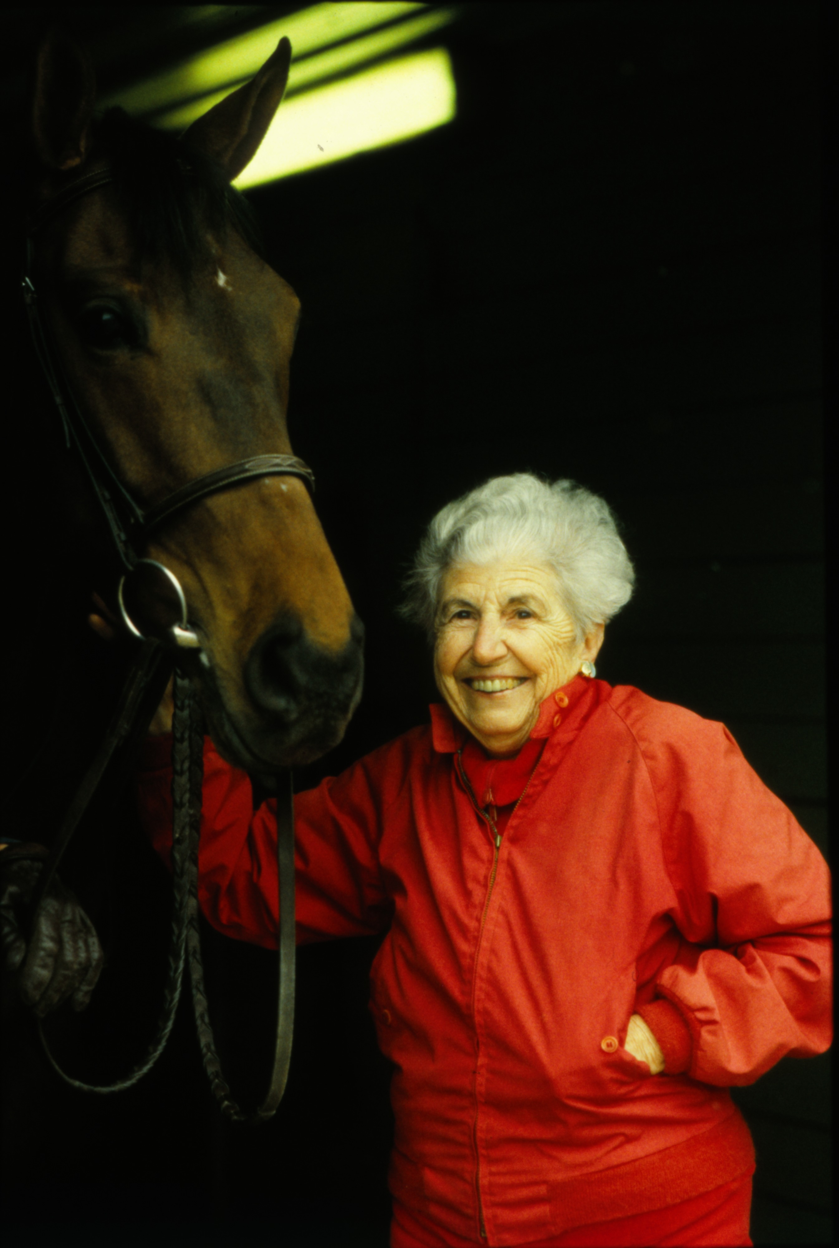 Ruth Everett with thoroughbred Elegant Jade, April 1991 image