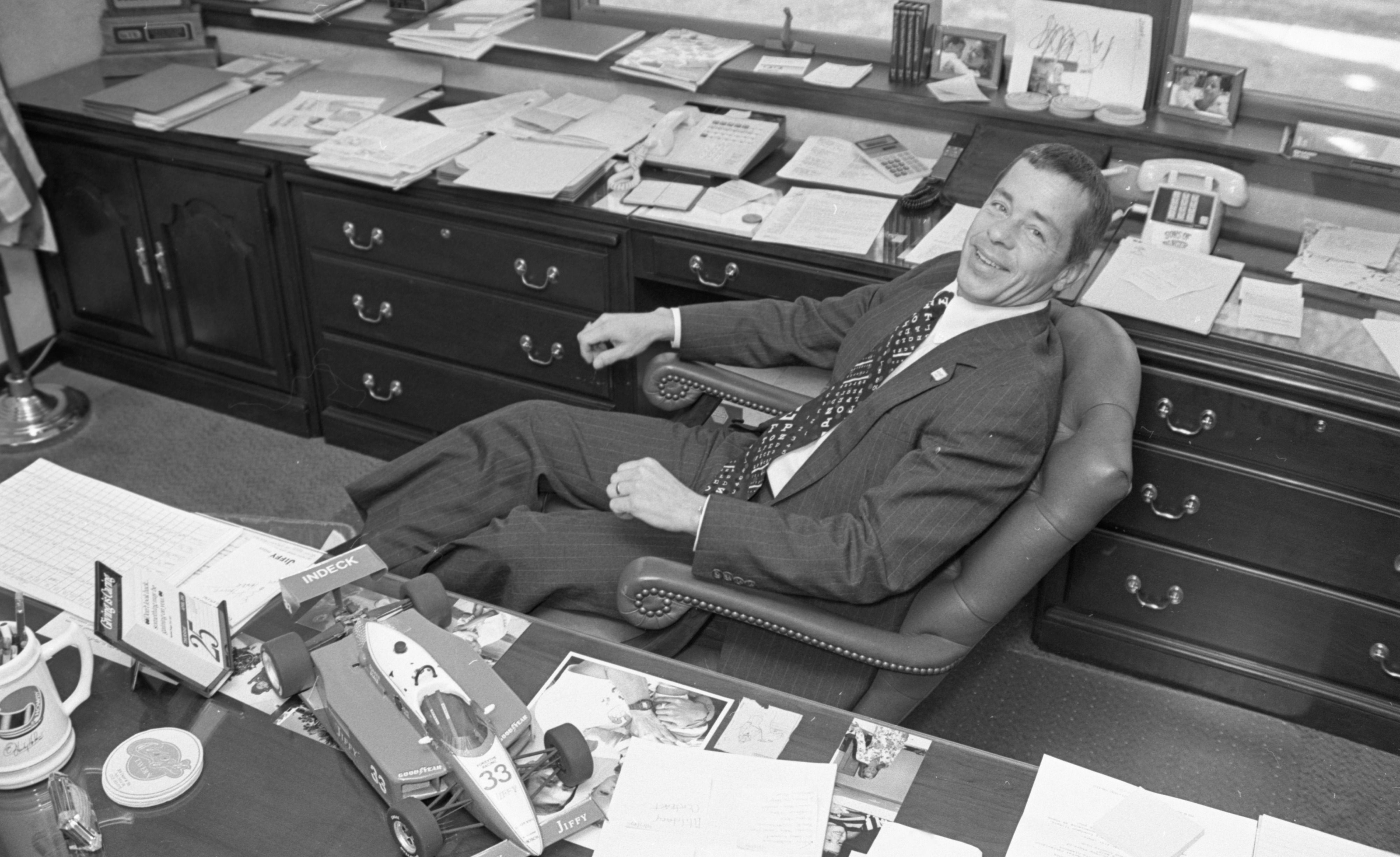 Retired Auto Racer Howdy Holmes In His Jiffy Mix Office, April 1991 image